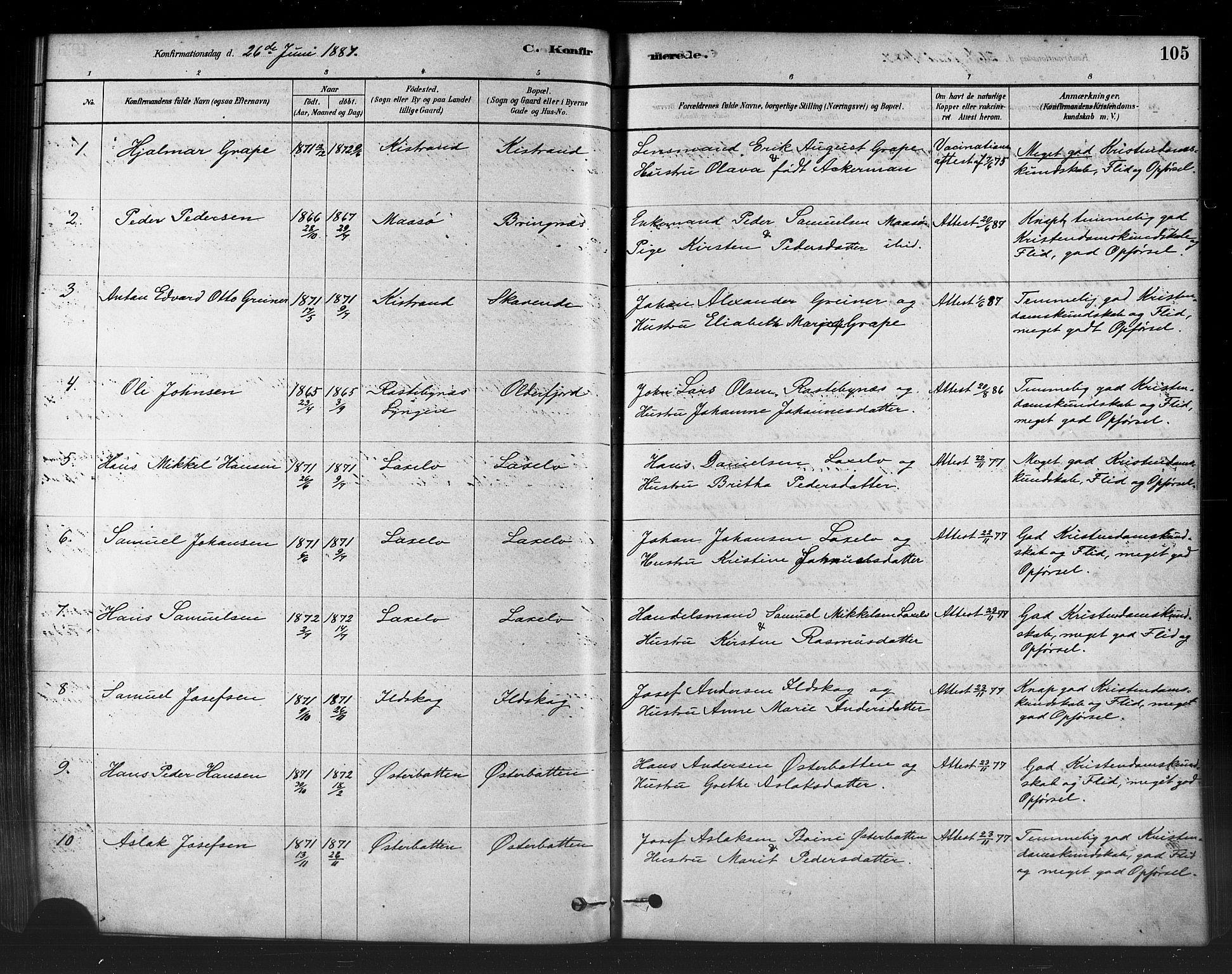 SATØ, Kistrand/Porsanger sokneprestembete, H/Ha/L0007.kirke: Parish register (official) no. 7, 1881-1889, p. 105