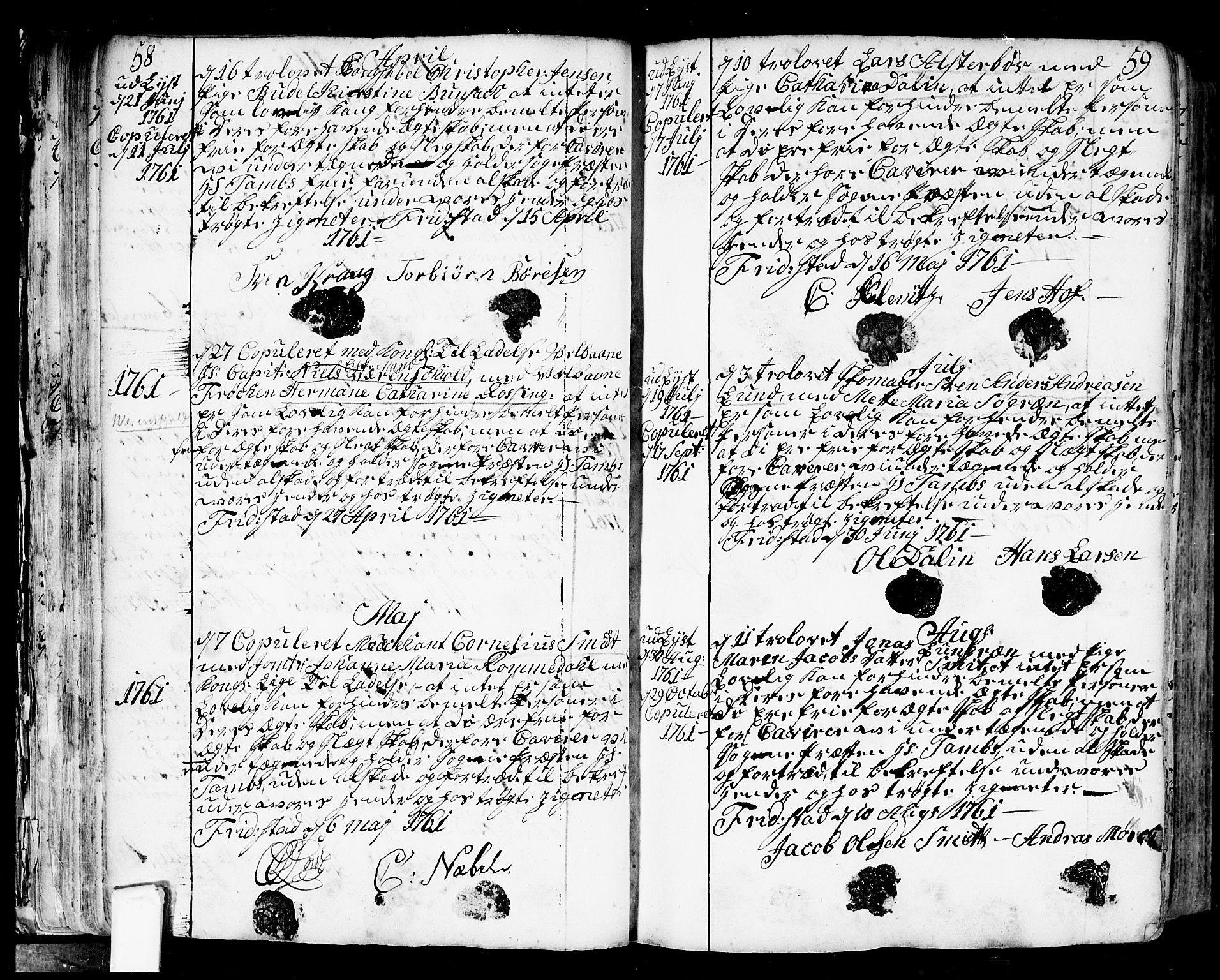 SAO, Fredrikstad prestekontor Kirkebøker, F/Fa/L0002: Parish register (official) no. 2, 1750-1804, p. 58-59