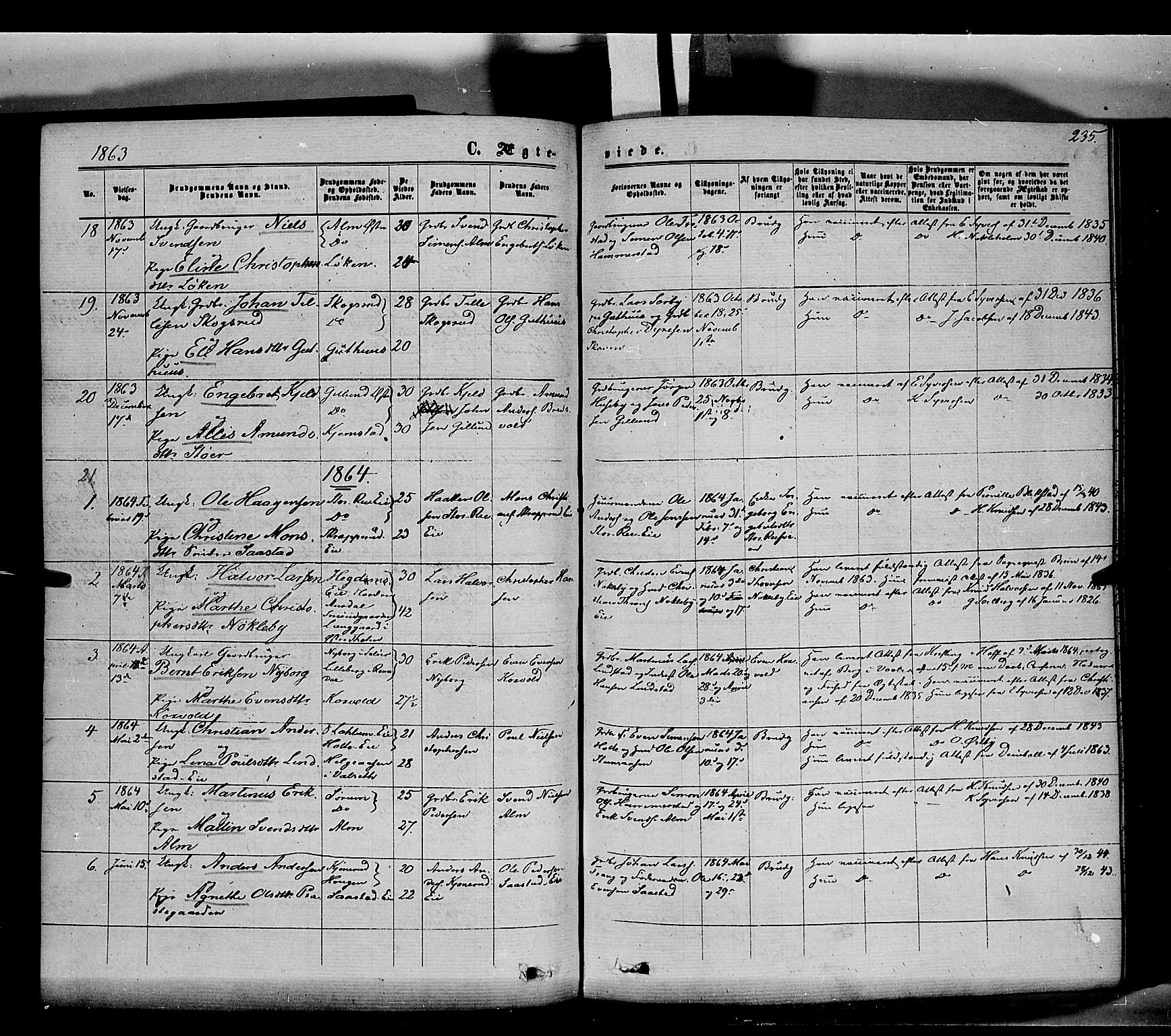 SAH, Stange prestekontor, K/L0013: Parish register (official) no. 13, 1862-1879, p. 235