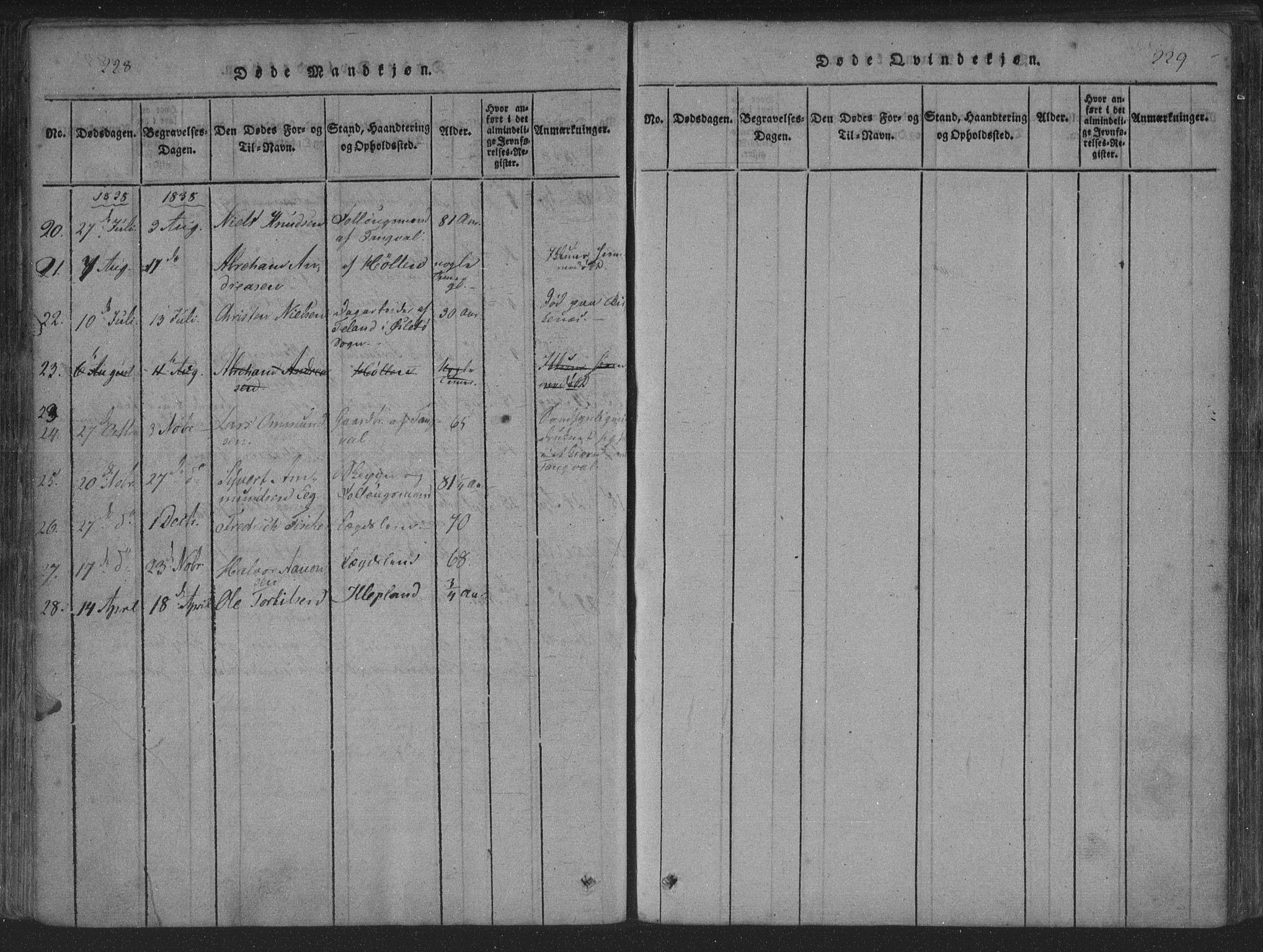 SAK, Søgne sokneprestkontor, F/Fa/Fab/L0008: Parish register (official) no. A 8, 1821-1838, p. 228-229