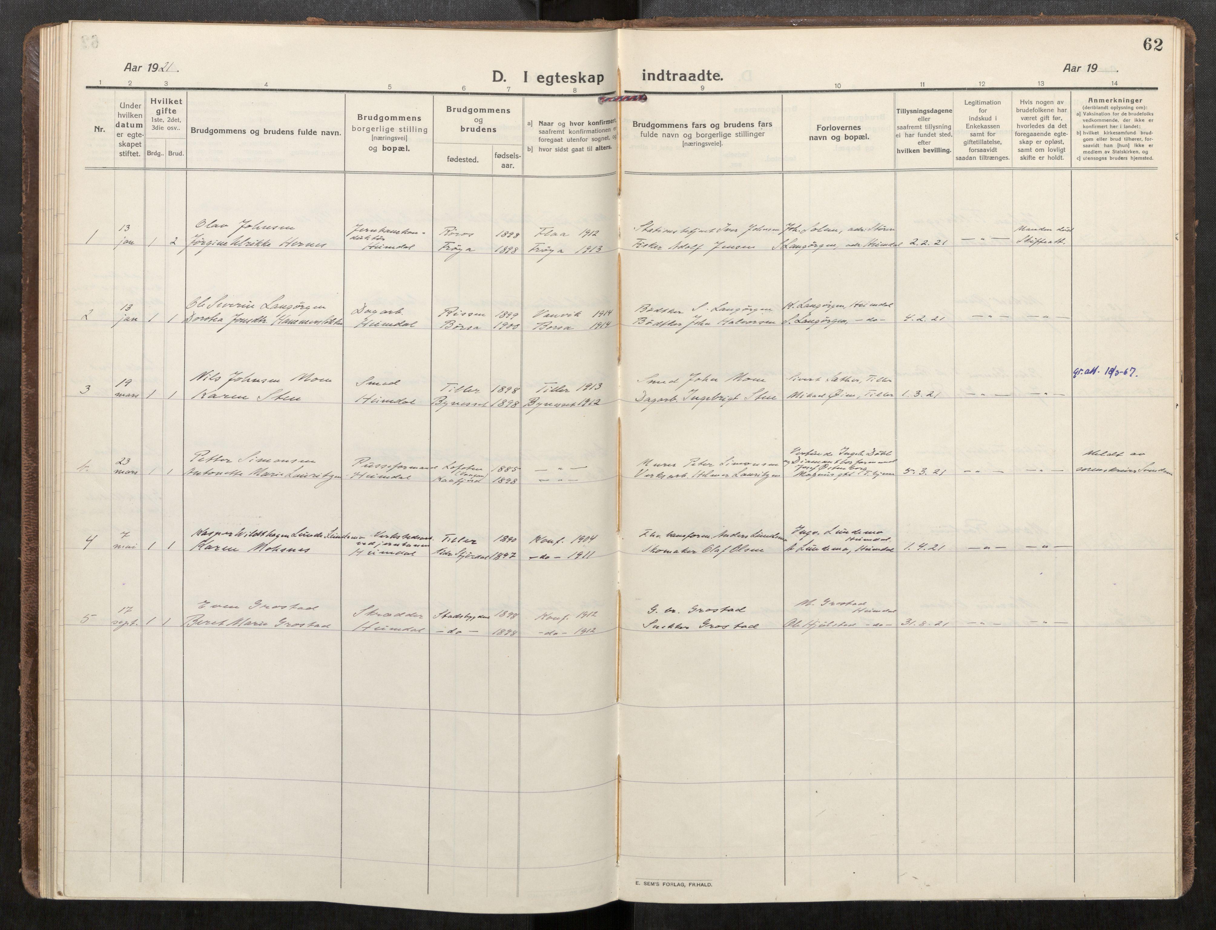 SAT, Klæbu sokneprestkontor, Parish register (official) no. 3, 1917-1924, p. 62