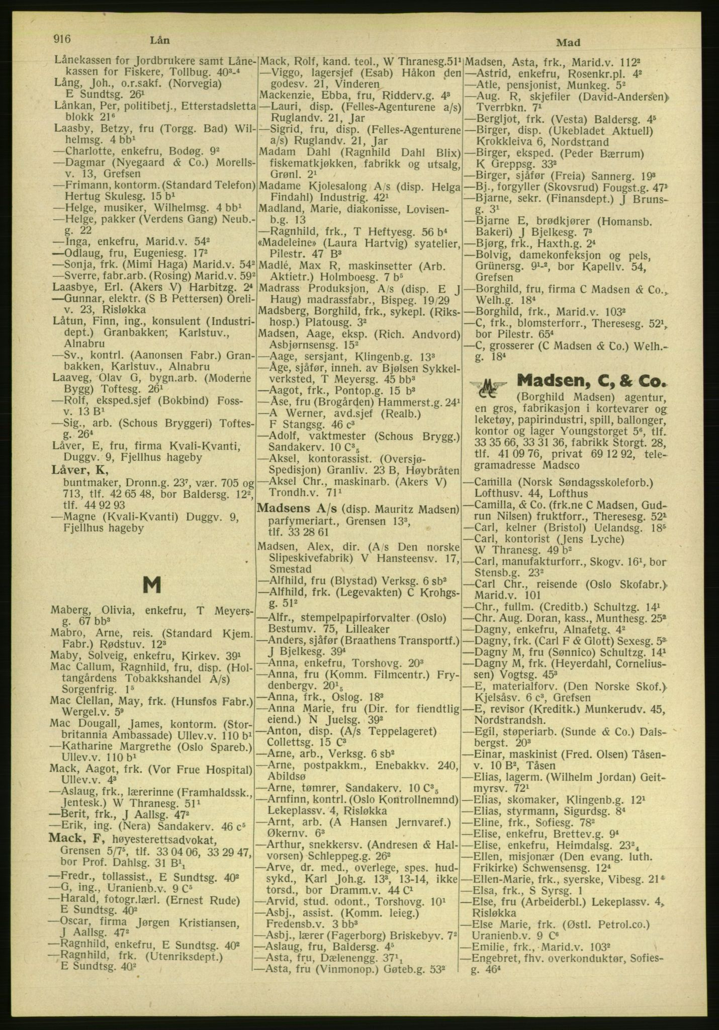 PUBL, Kristiania/Oslo adressebok, 1951, p. 916