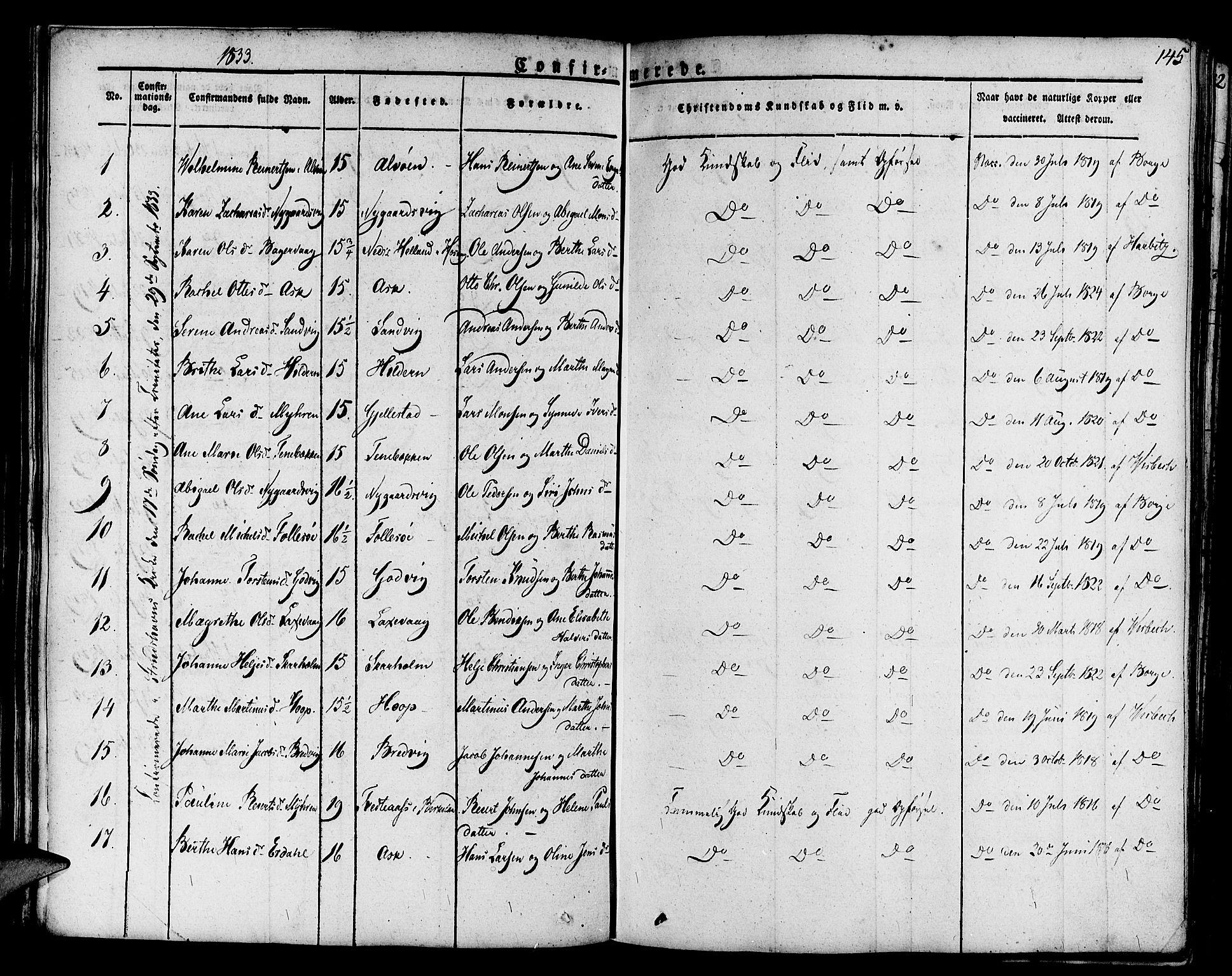 SAB, Askøy Sokneprestembete, H/Ha/Haa/Haaa/L0004: Parish register (official) no. A 4, 1825-1845, p. 145