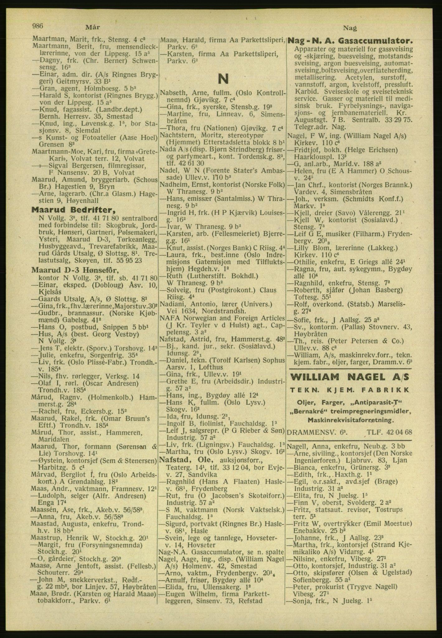 PUBL, Kristiania/Oslo adressebok, 1951, p. 986