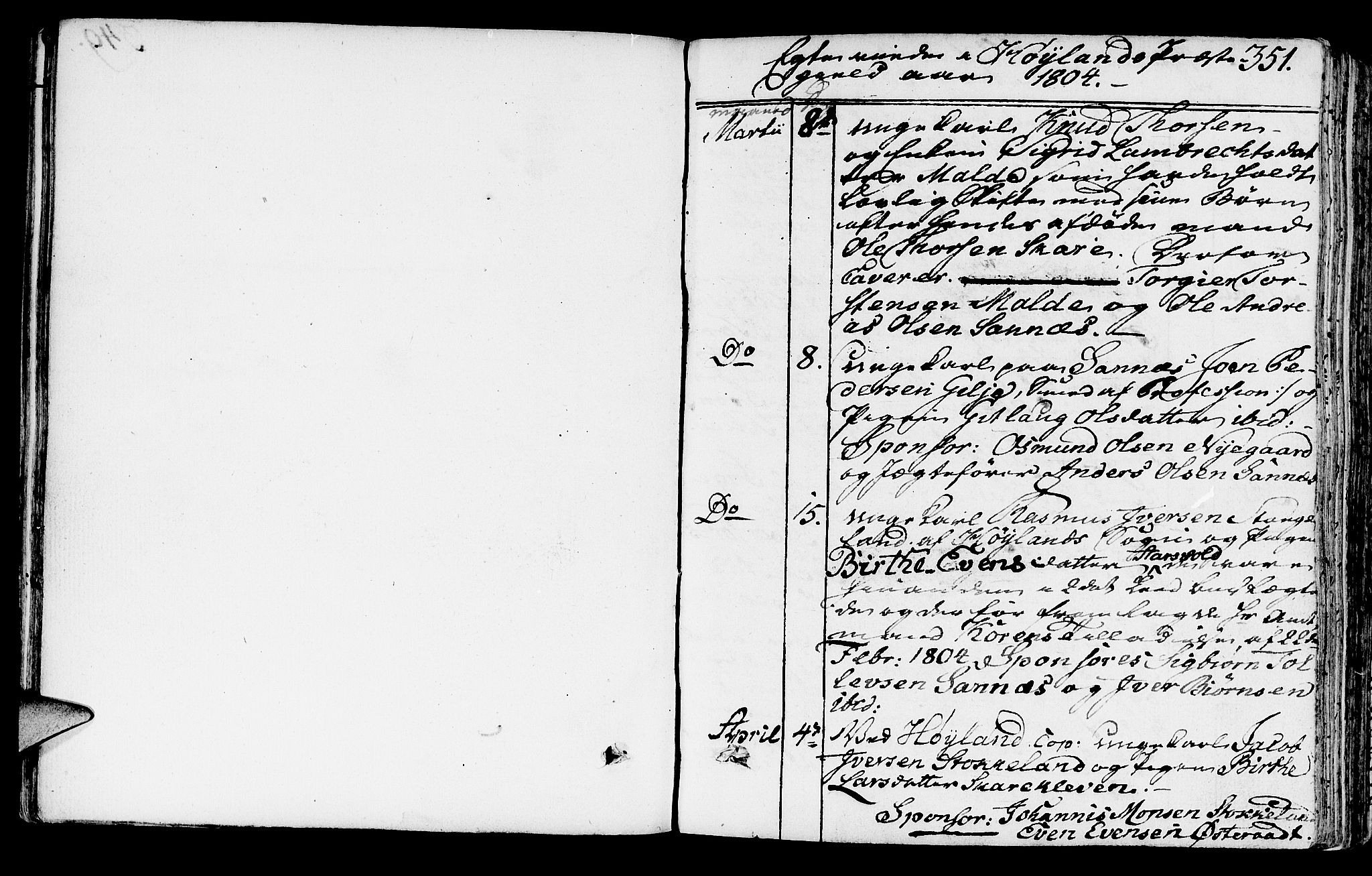 SAST, Høyland sokneprestkontor, 30BA/L0005: Parish register (official) no. A 5, 1804-1815, p. 351