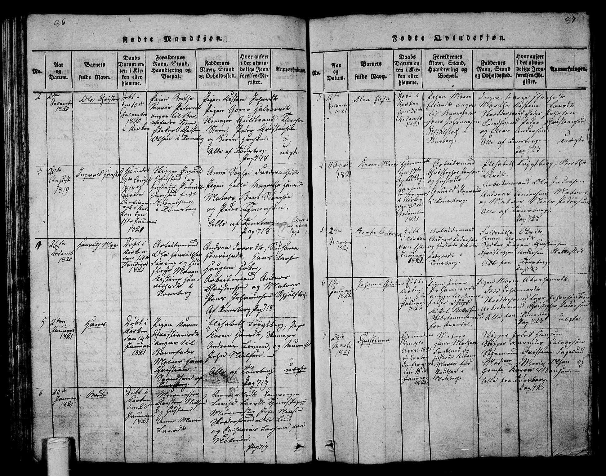 SAKO, Tønsberg kirkebøker, G/Ga/L0001: Parish register (copy) no. 1, 1813-1826, p. 86-87
