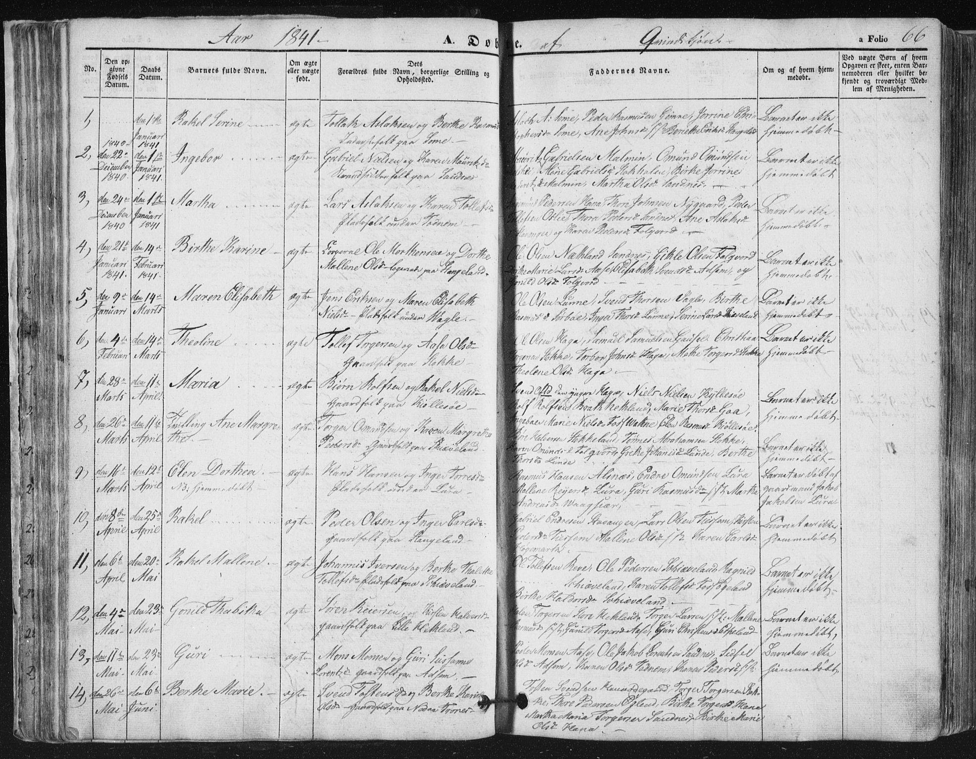 SAST, Høyland sokneprestkontor, 30BA/L0008: Parish register (official) no. A 8, 1841-1856, p. 66