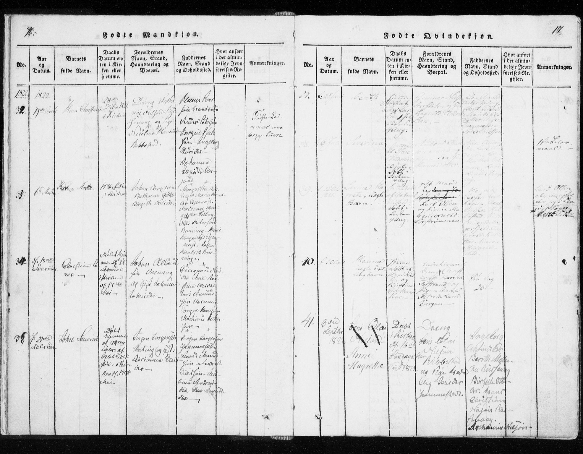 SATØ, Tranøy sokneprestkontor, I/Ia/Iaa/L0004kirke: Parish register (official) no. 4, 1820-1829, p. 16-17