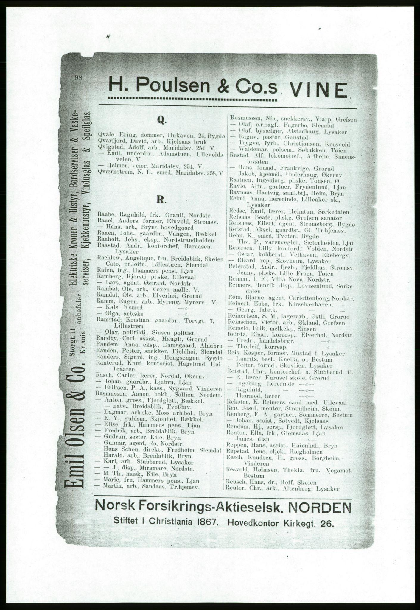 RA, Aker adressebok/adressekalender (publikasjon)*, 1916-1917, p. 98