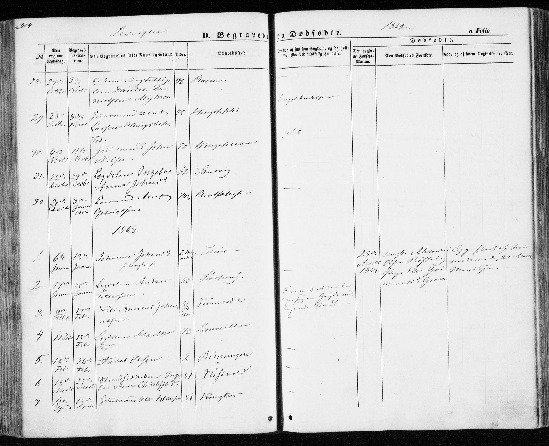 SAT, Ministerialprotokoller, klokkerbøker og fødselsregistre - Nord-Trøndelag, 701/L0008: Parish register (official) no. 701A08 /1, 1854-1863, p. 314
