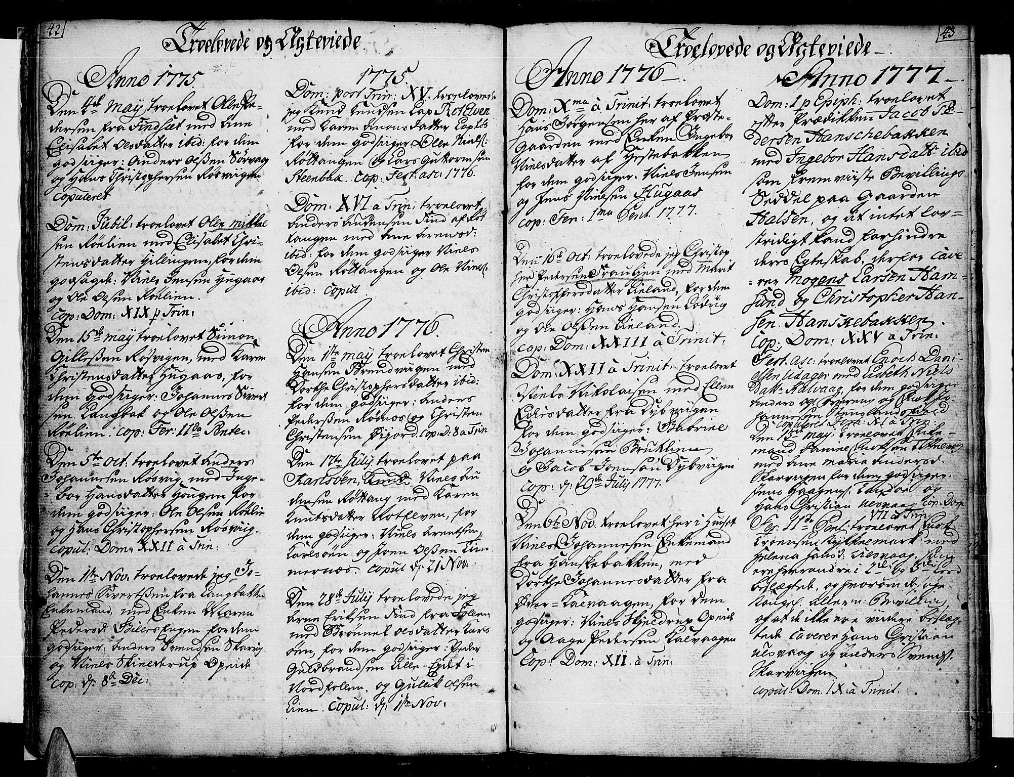 SAT, Ministerialprotokoller, klokkerbøker og fødselsregistre - Nordland, 859/L0841: Parish register (official) no. 859A01, 1766-1821, p. 42-43