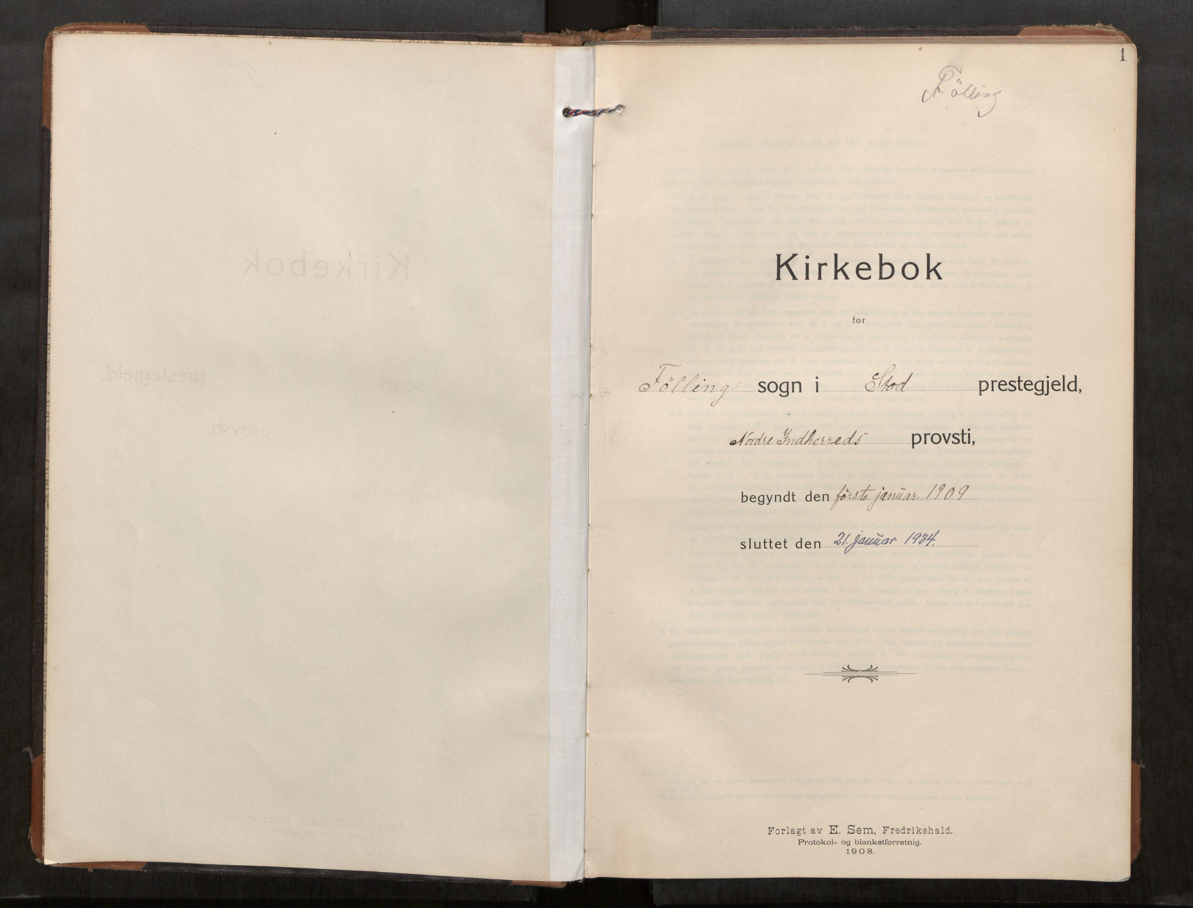 SAT, Stod sokneprestkontor, I/I1/I1a/L0003: Parish register (official) no. 3, 1909-1934, p. 1