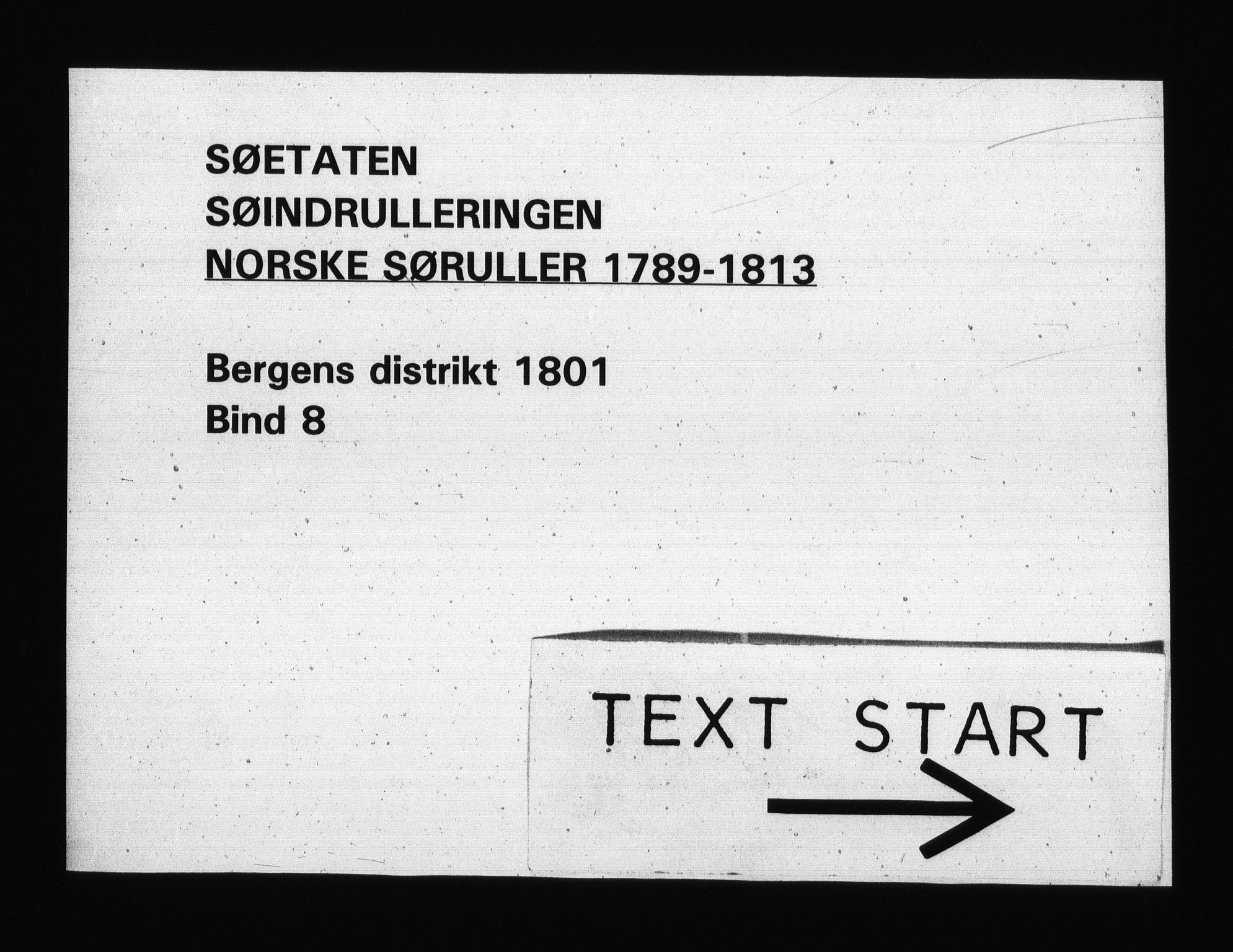 RA, Sjøetaten, F/L0240: Bergen distrikt, bind 8, 1801