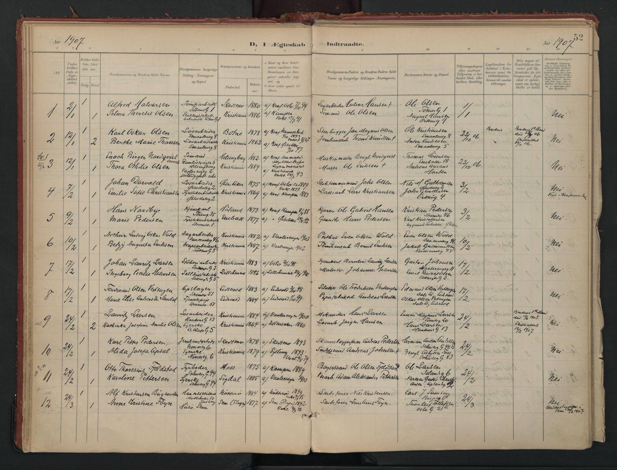 SAO, Vålerengen prestekontor Kirkebøker, F/Fa/L0002: Parish register (official) no. 2, 1899-1924, p. 52