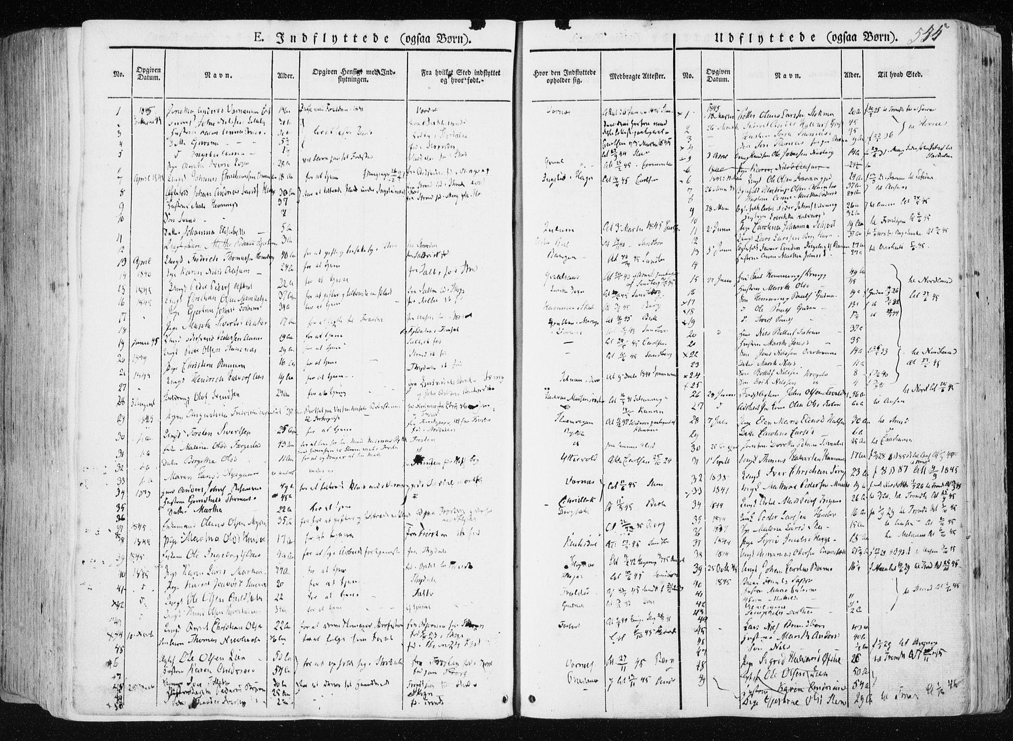 SAT, Ministerialprotokoller, klokkerbøker og fødselsregistre - Nord-Trøndelag, 709/L0074: Parish register (official) no. 709A14, 1845-1858, p. 545