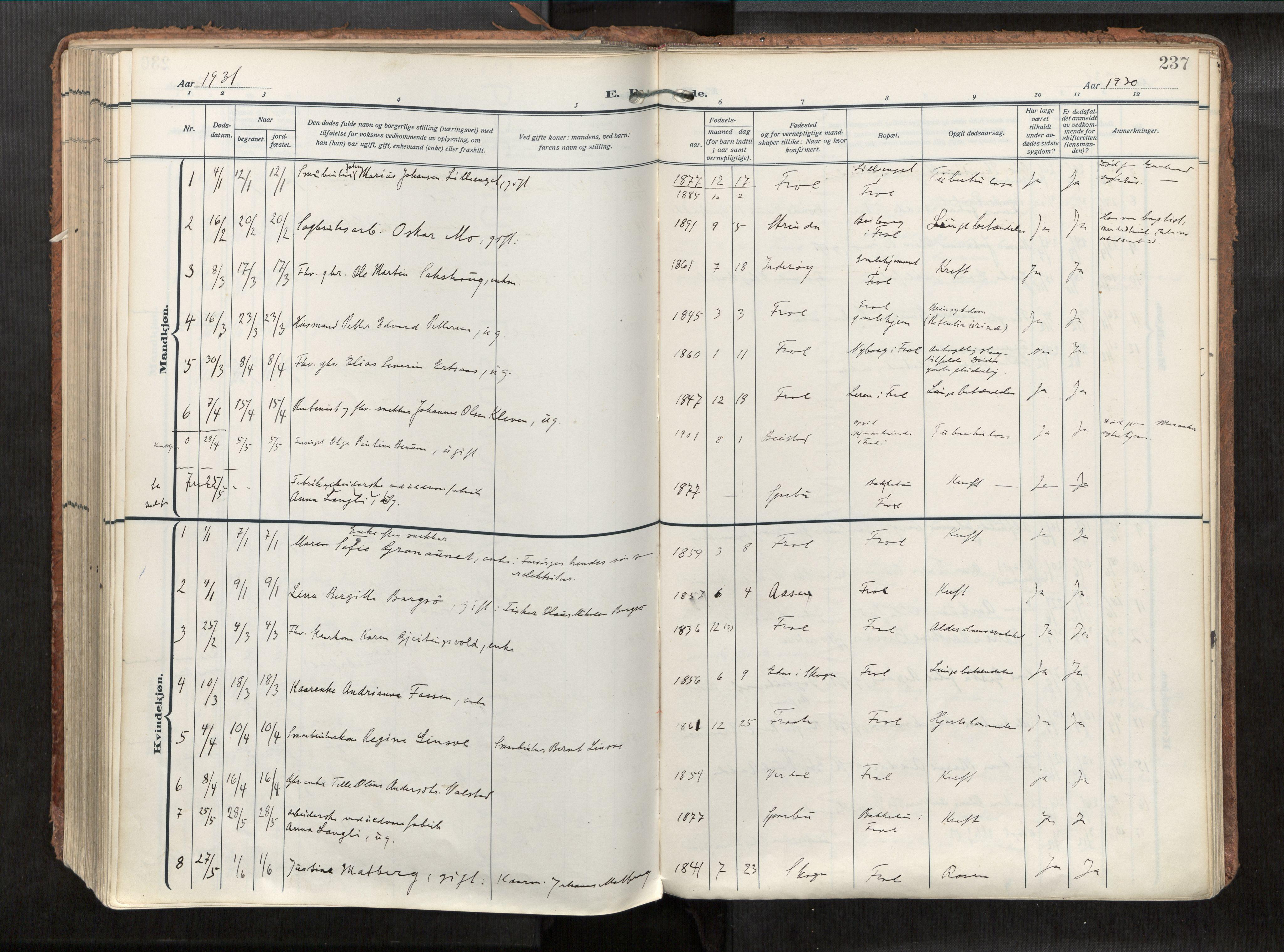 SAT, Levanger sokneprestkontor*, Parish register (official) no. 1, 1912-1935, p. 237
