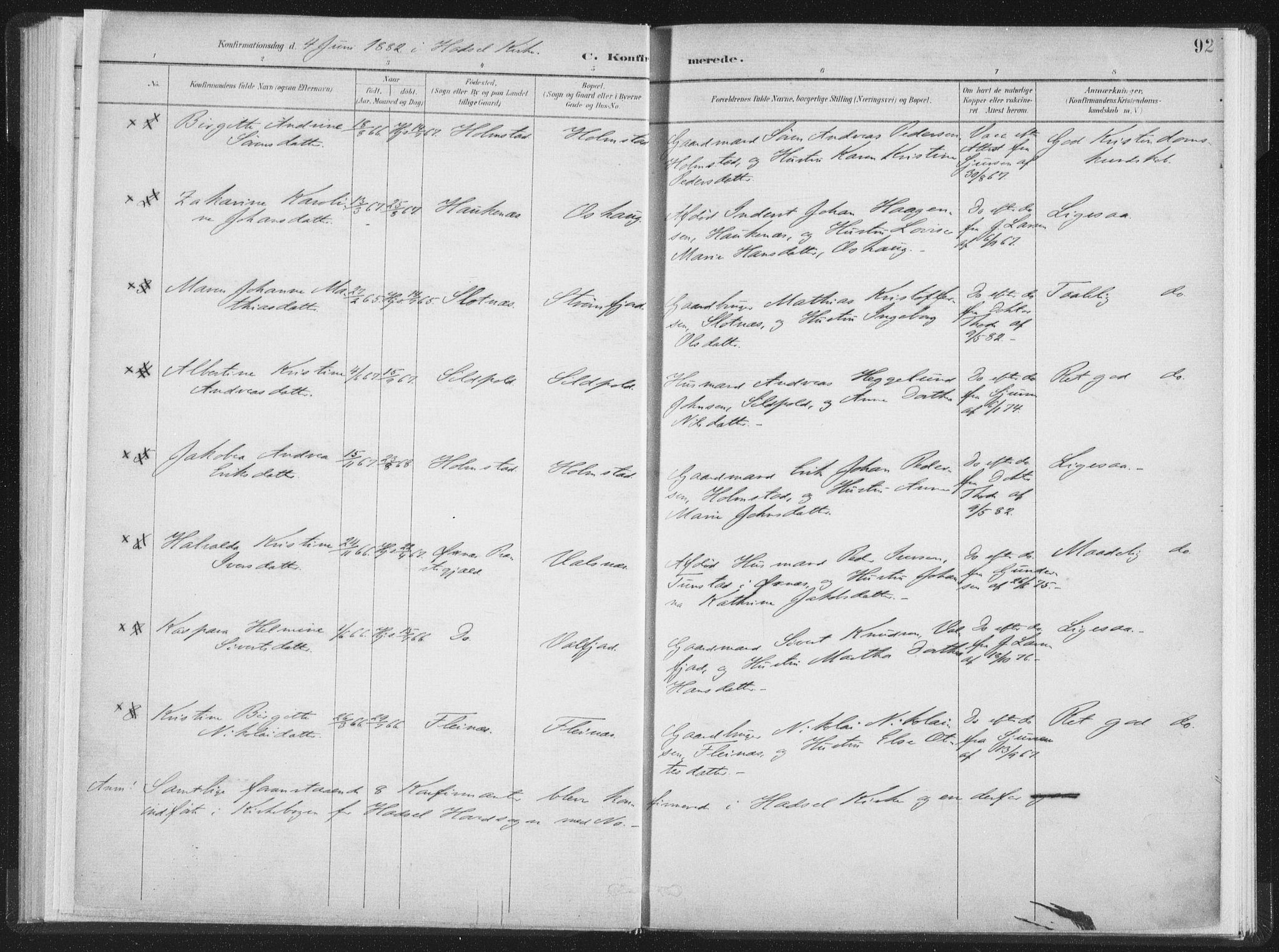 SAT, Ministerialprotokoller, klokkerbøker og fødselsregistre - Nordland, 890/L1286: Parish register (official) no. 890A01, 1882-1902, p. 92