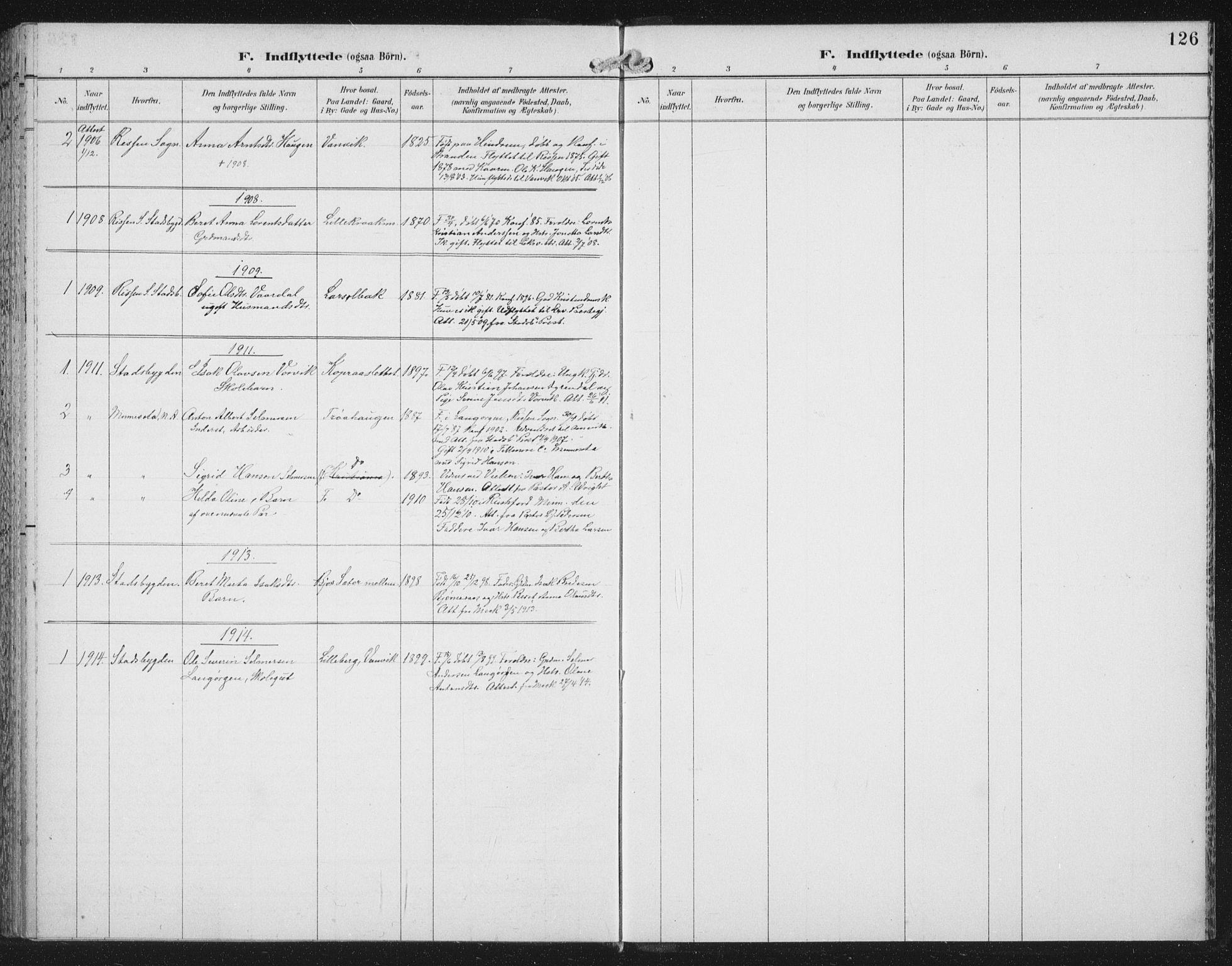 SAT, Ministerialprotokoller, klokkerbøker og fødselsregistre - Nord-Trøndelag, 702/L0024: Parish register (official) no. 702A02, 1898-1914, p. 126