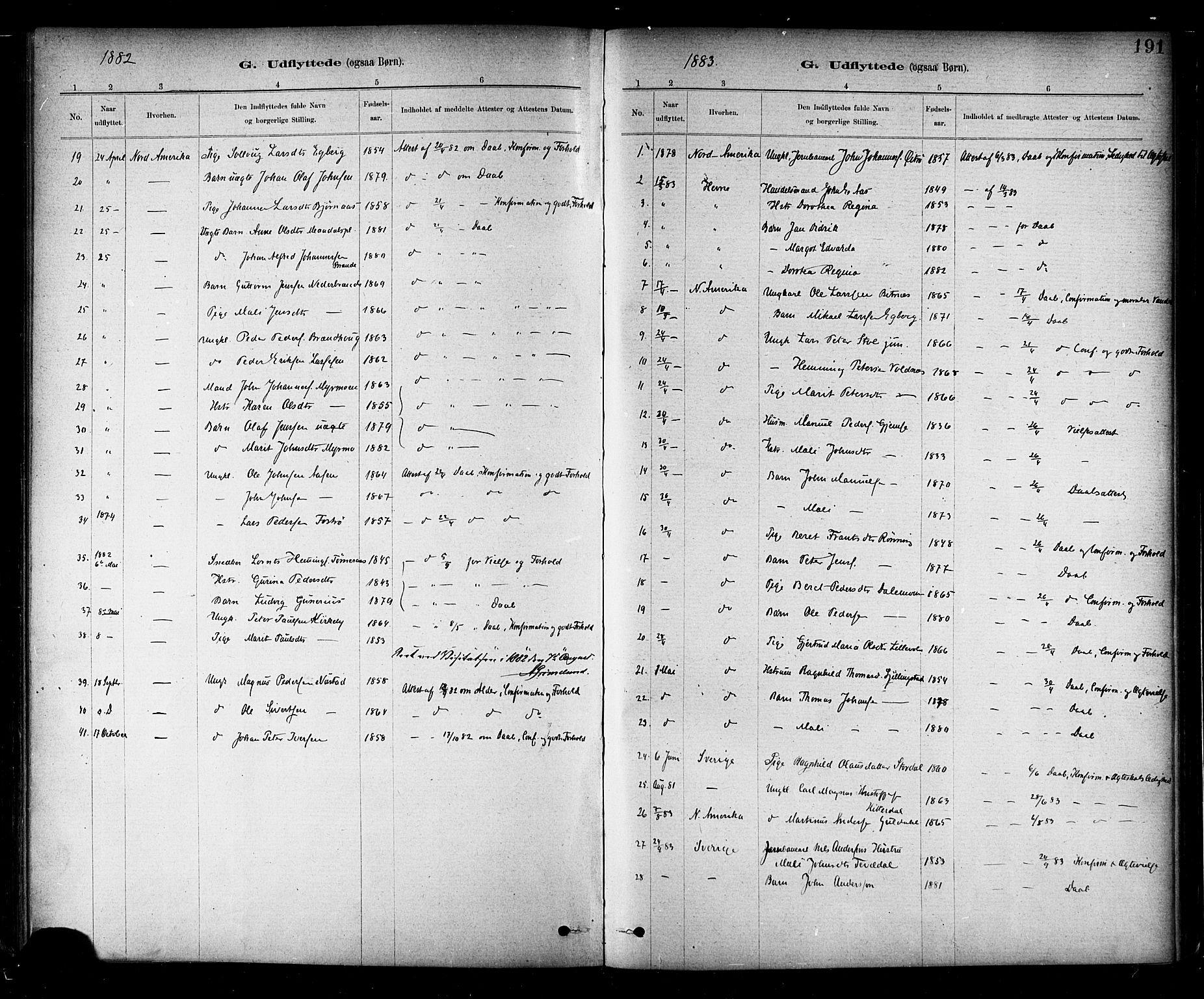 SAT, Ministerialprotokoller, klokkerbøker og fødselsregistre - Nord-Trøndelag, 706/L0047: Parish register (official) no. 706A03, 1878-1892, p. 191