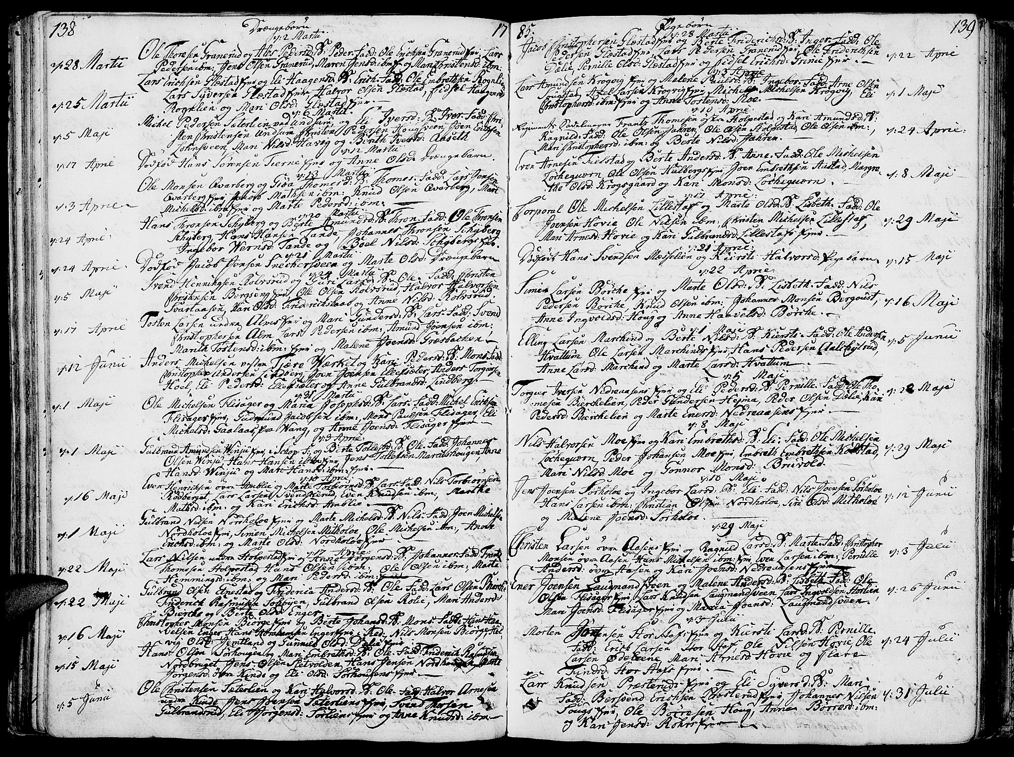 SAH, Ringsaker prestekontor, K/Ka/L0003: Parish register (official) no. 3, 1775-1798, p. 138-139
