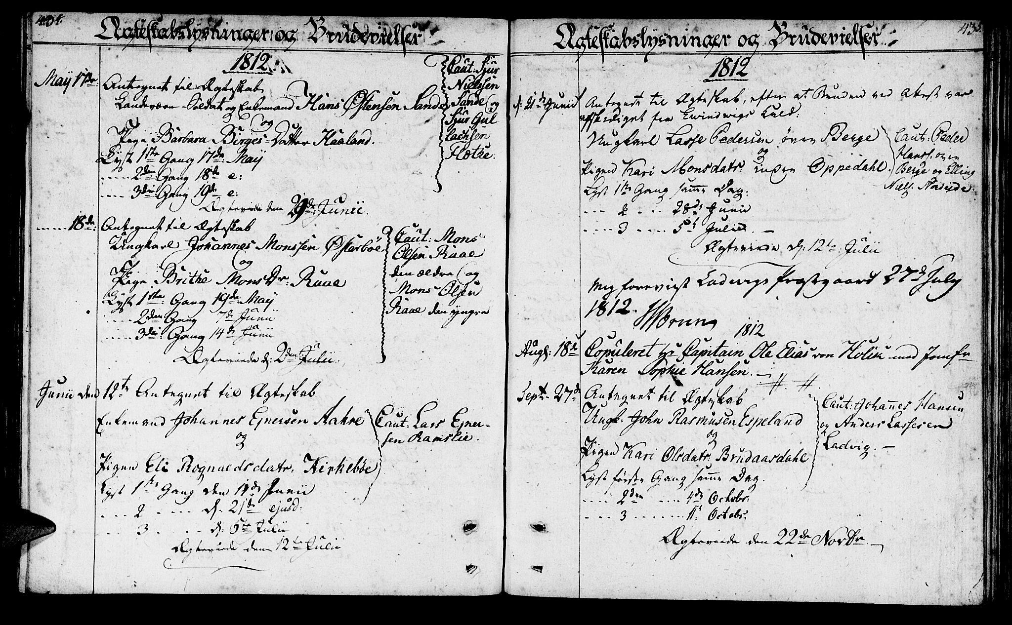 SAB, Lavik sokneprestembete, Parish register (official) no. A 1, 1809-1822, p. 434-435