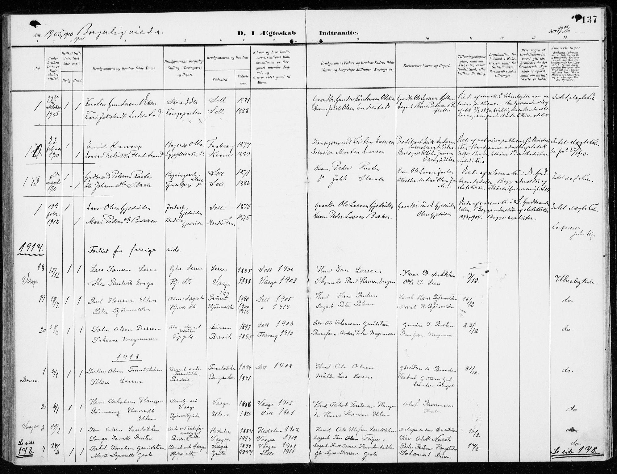 SAH, Sel prestekontor, Parish register (official) no. 2, 1905-1919, p. 137