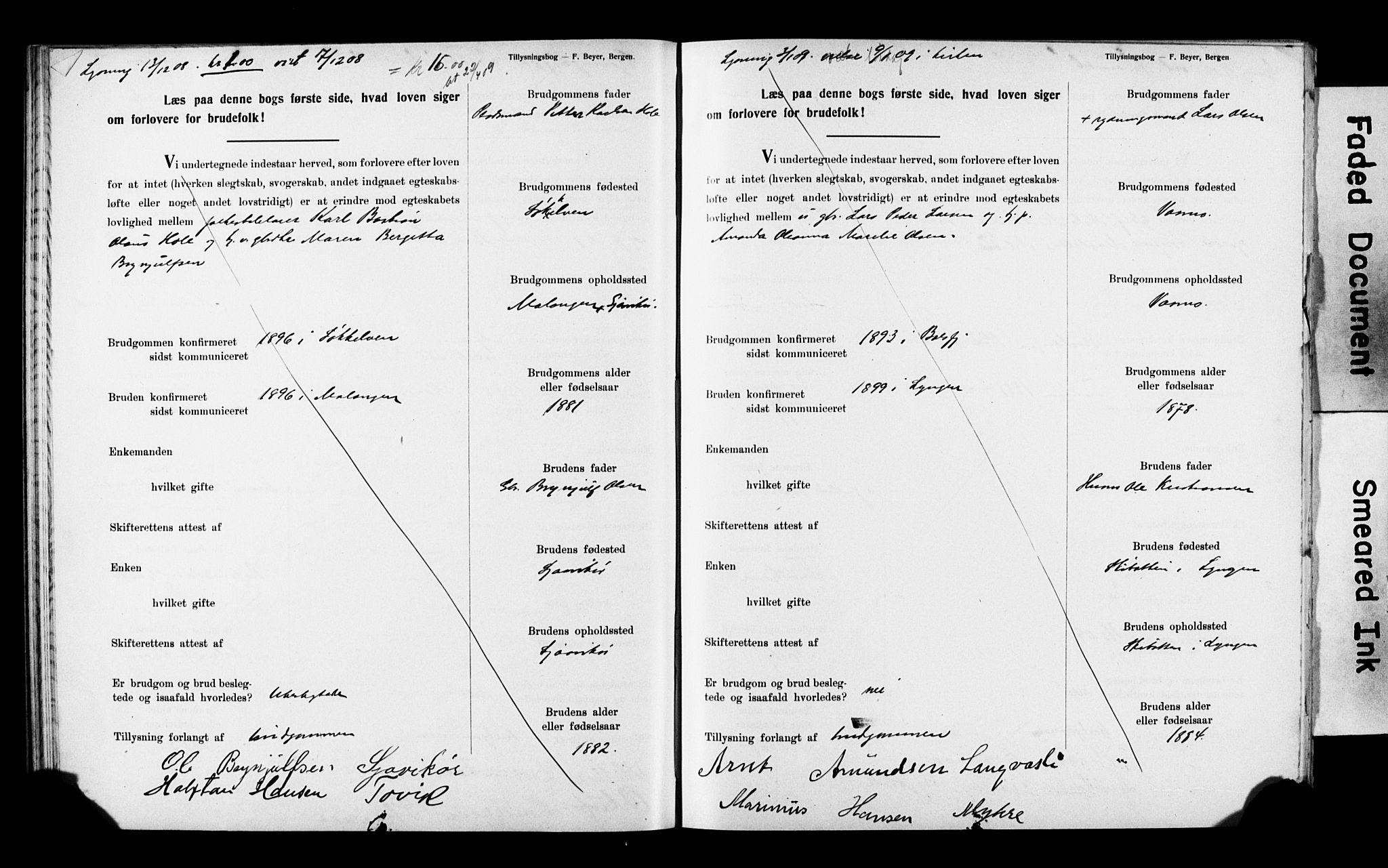 SATØ, Balsfjord sokneprestembete, Banns register no. 32, 1907-1910