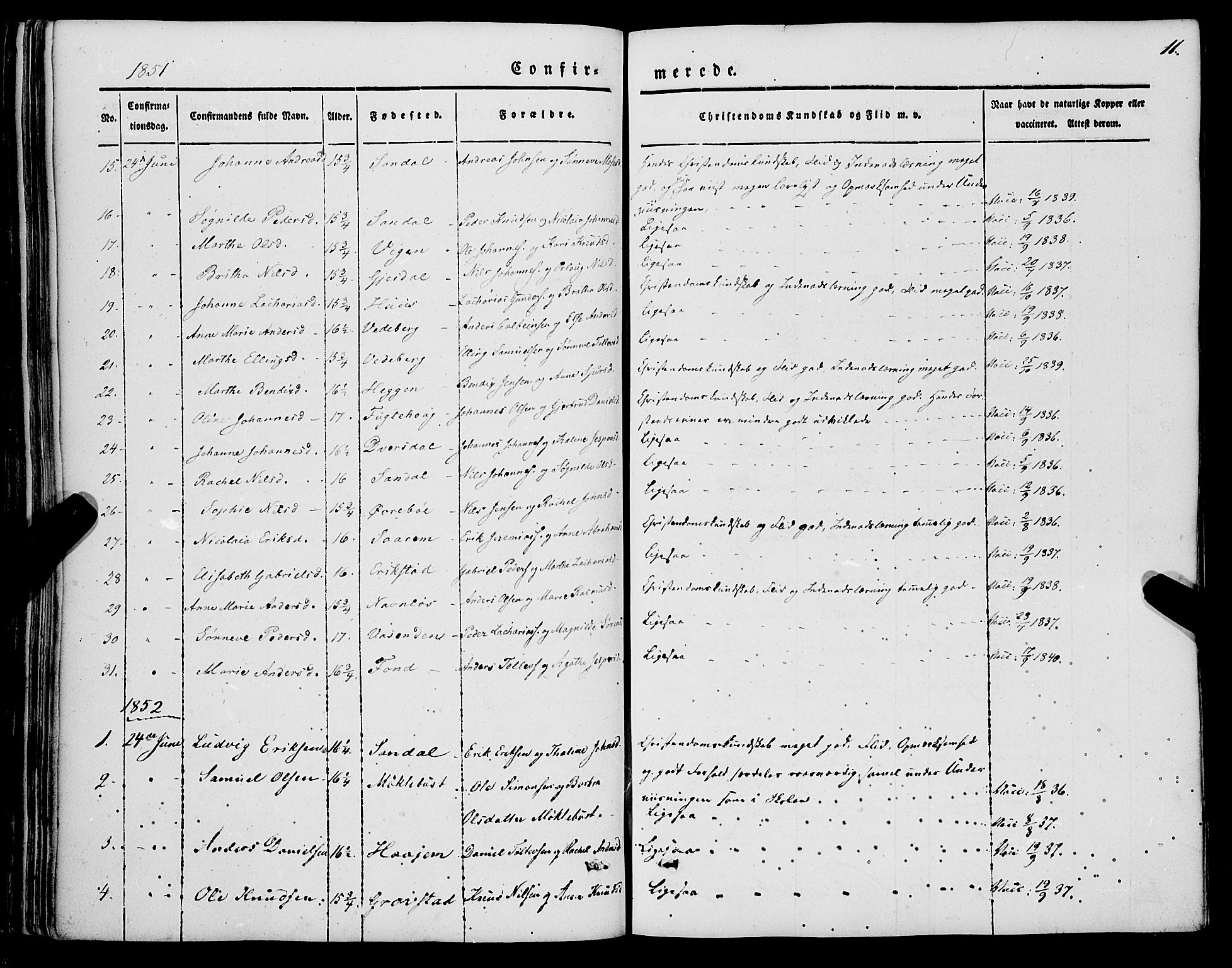 SAB, Jølster sokneprestembete, H/Haa/Haaa/L0010: Parish register (official) no. A 10, 1847-1865, p. 11
