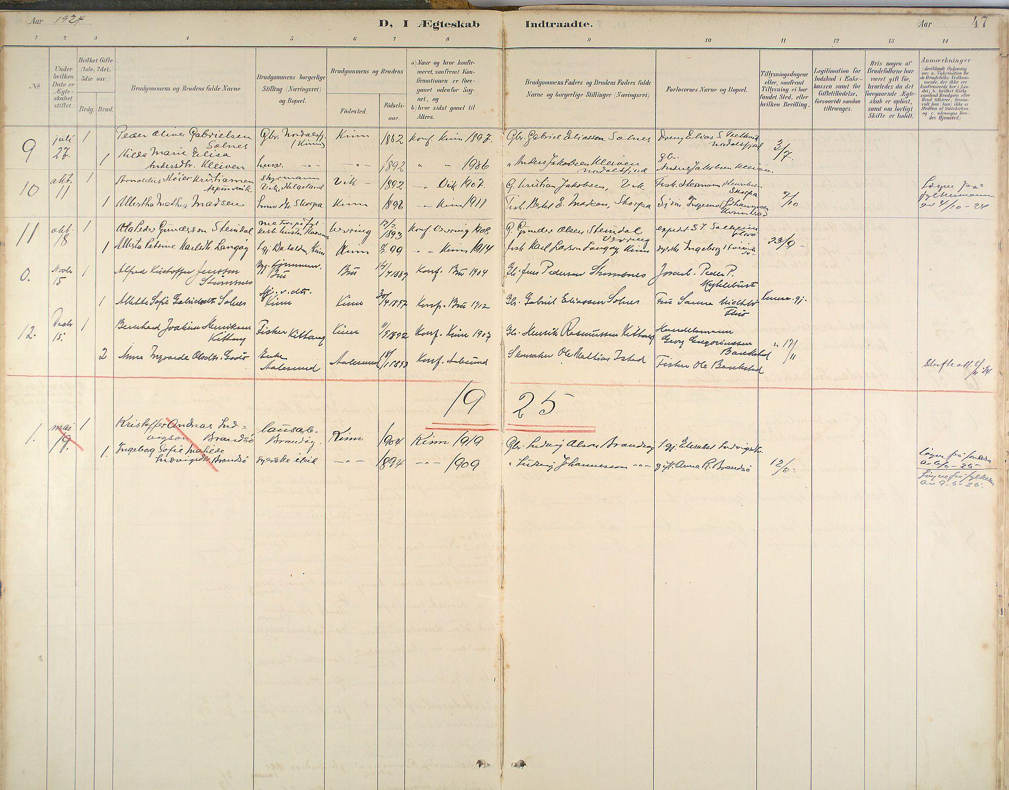 Kinn Sokneprestembete, Parish register (official) no. B 3, 1886-1936, p. 47