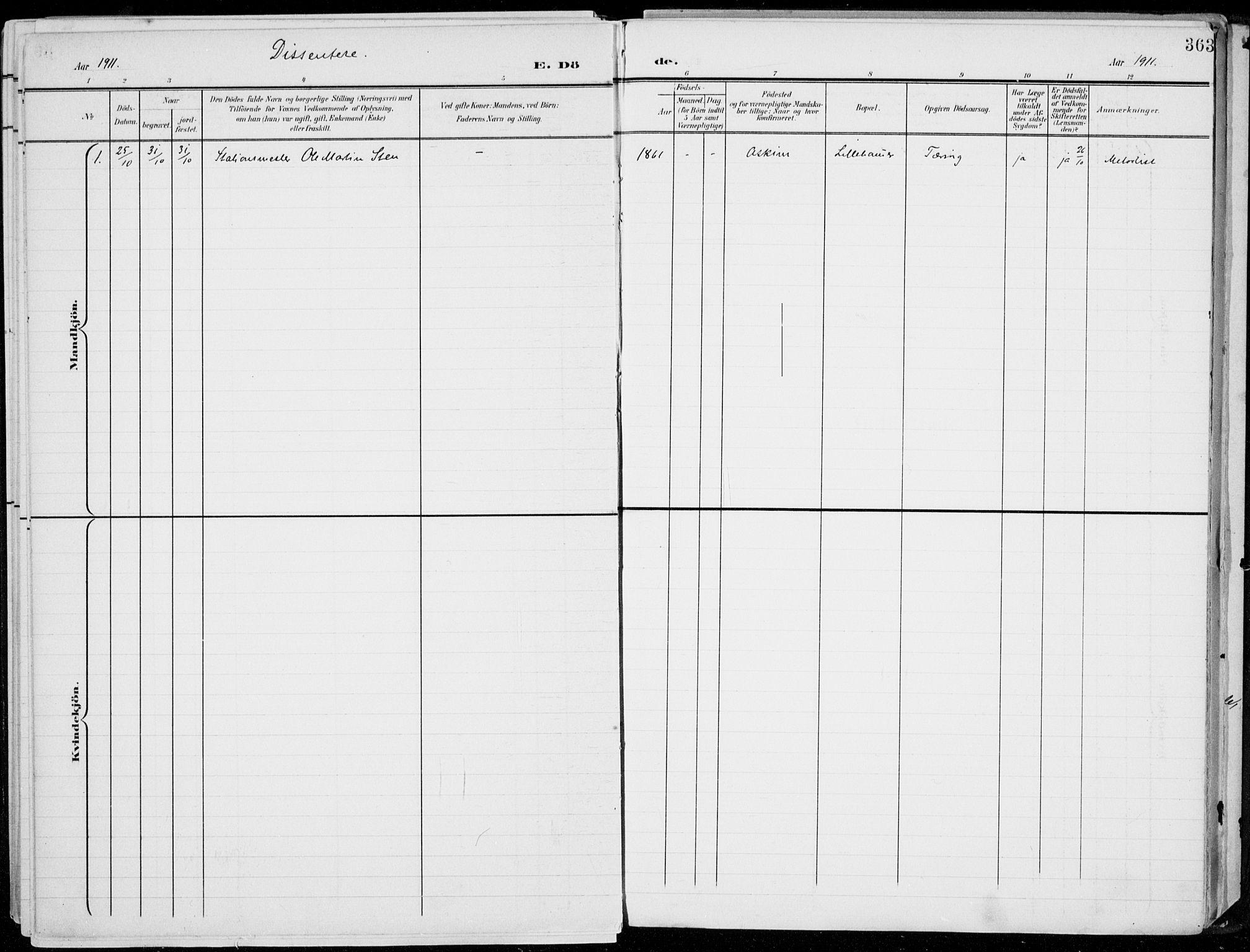 SAH, Lillehammer prestekontor, H/Ha/Haa/L0001: Parish register (official) no. 1, 1901-1916, p. 363