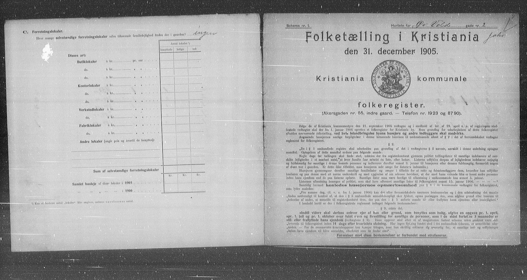 OBA, Municipal Census 1905 for Kristiania, 1905, p. 68390