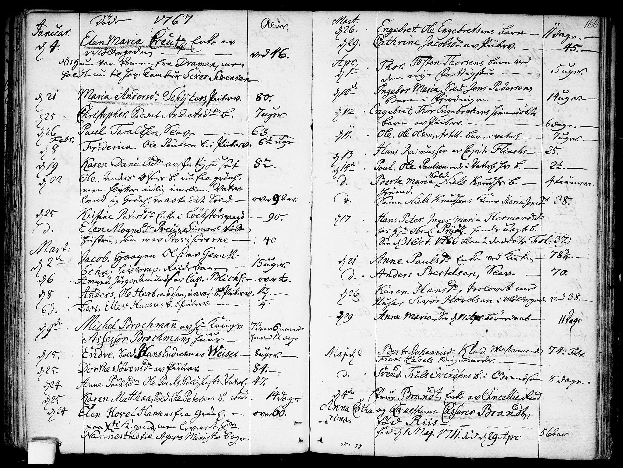 SAO, Garnisonsmenigheten Kirkebøker, F/Fa/L0002: Parish register (official) no. 2, 1757-1776, p. 166