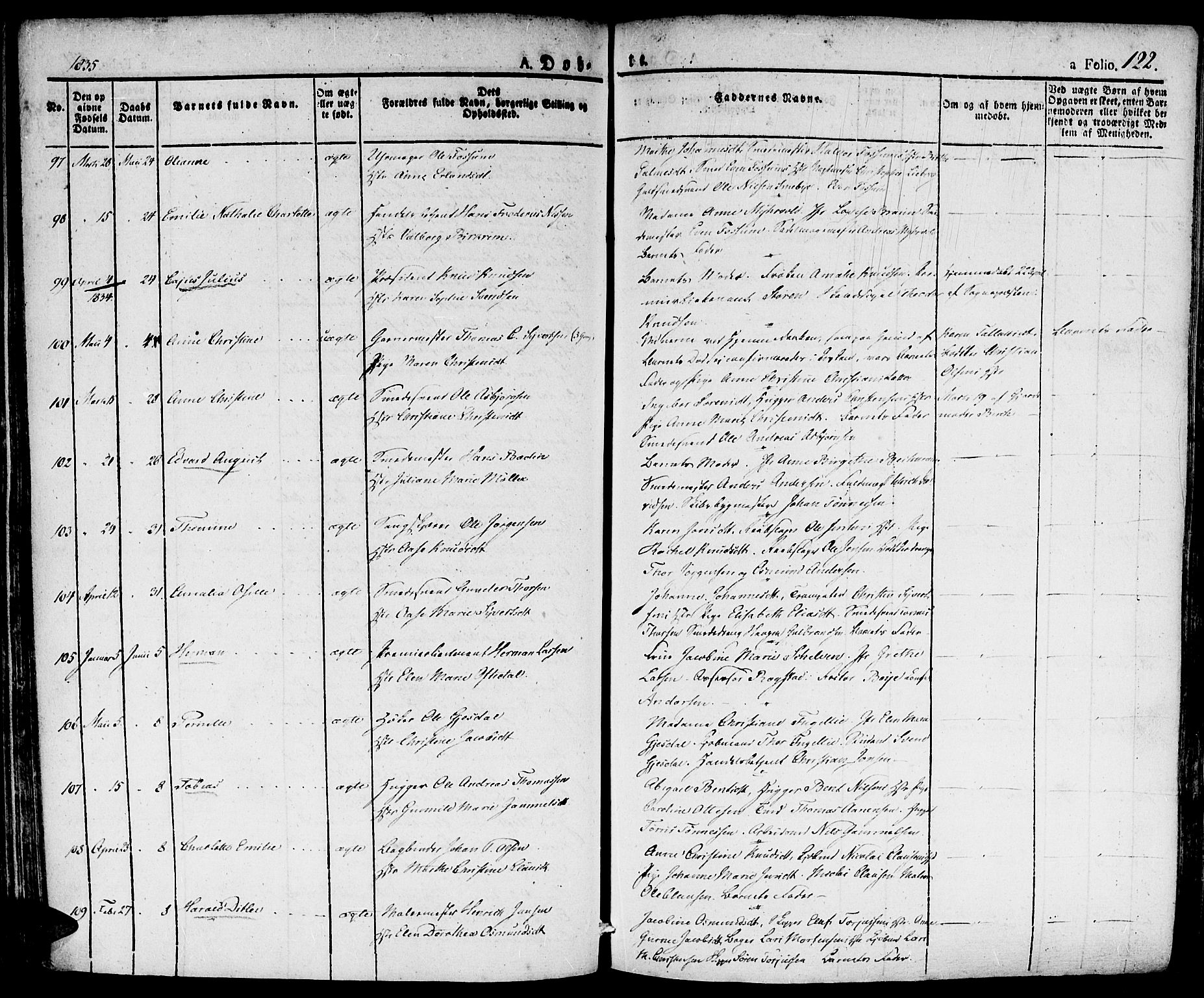 SAK, Kristiansand domprosti, F/Fa/L0011: Parish register (official) no. A 11, 1827-1841, p. 122