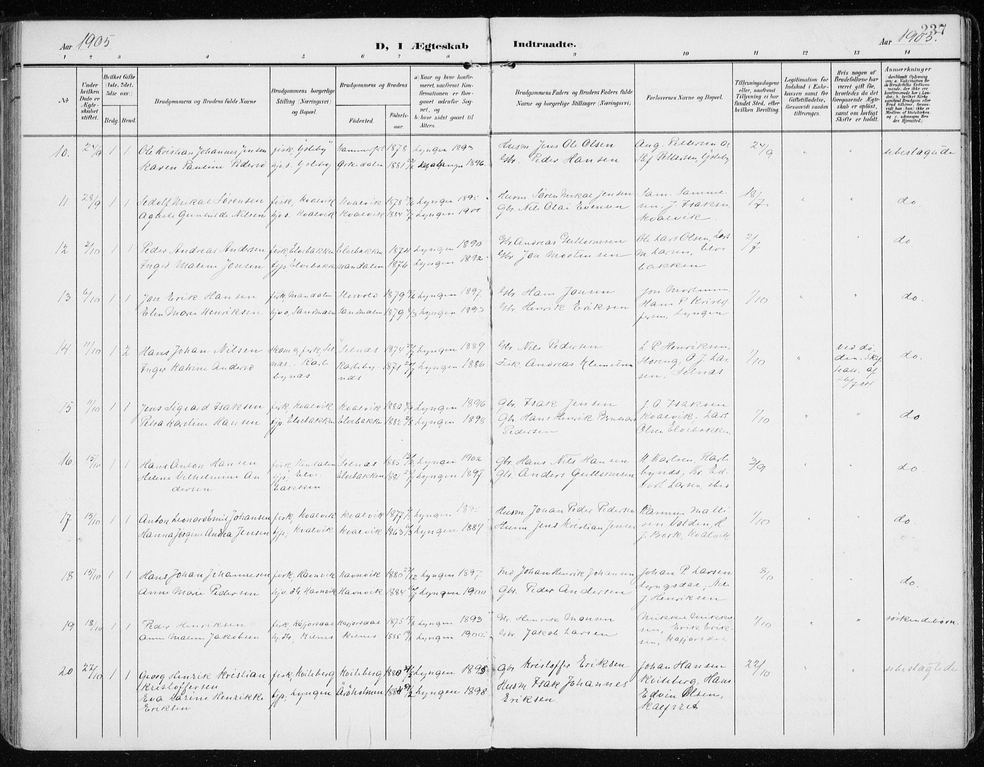 SATØ, Lyngen sokneprestembete, Parish register (official) no. 11, 1903-1913, p. 237