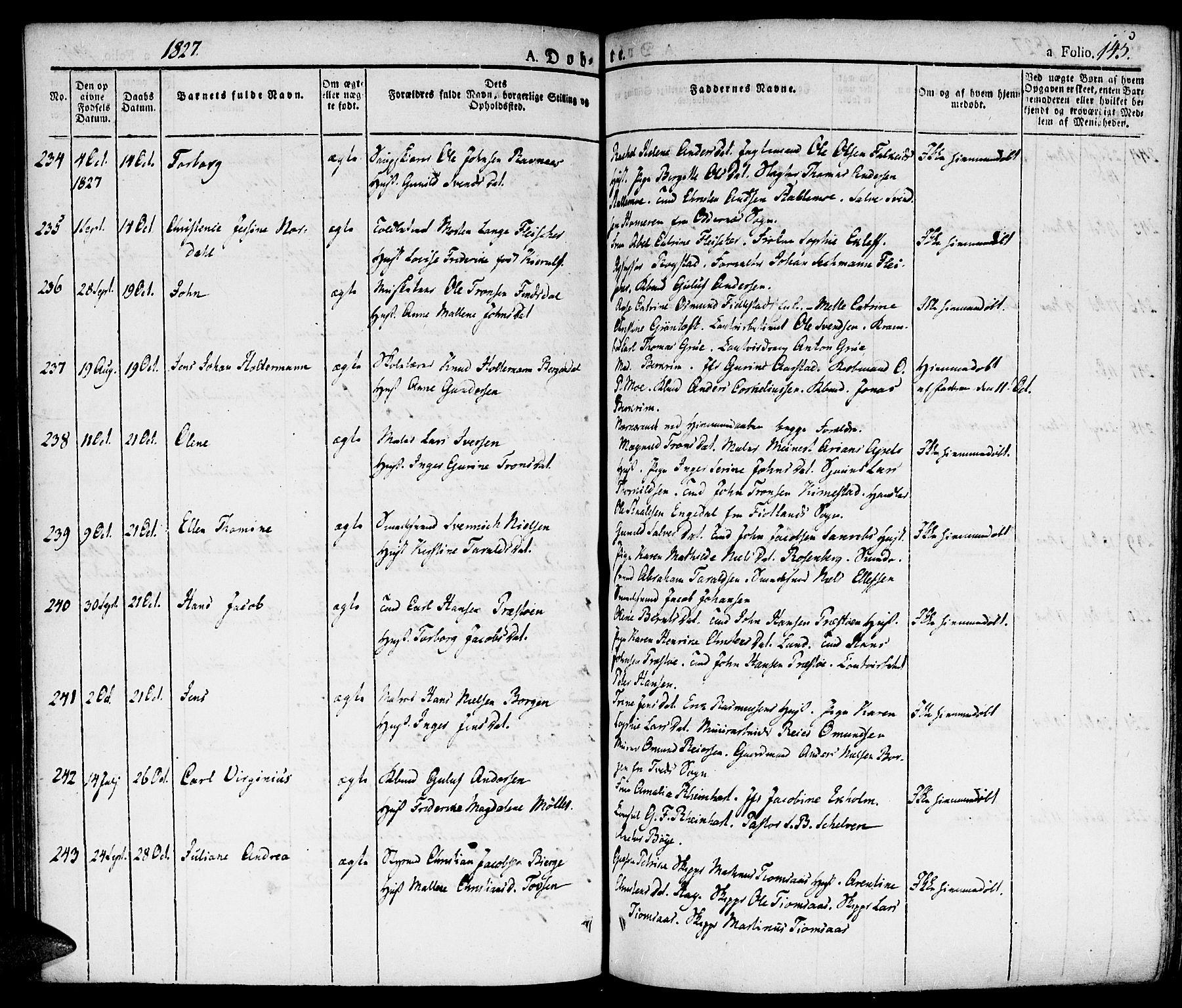 SAK, Kristiansand domprosti, F/Fa/L0009: Parish register (official) no. A 9, 1821-1827, p. 145