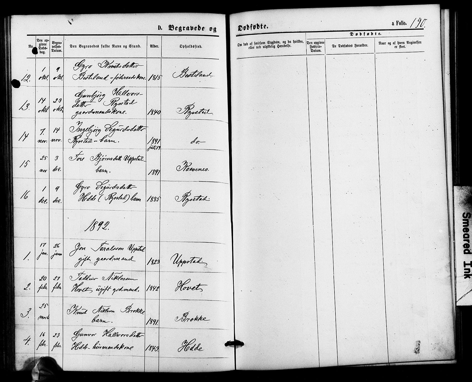 SAK, Valle sokneprestkontor, F/Fb/Fbb/L0002: Parish register (copy) no. B 2, 1875-1921, p. 190