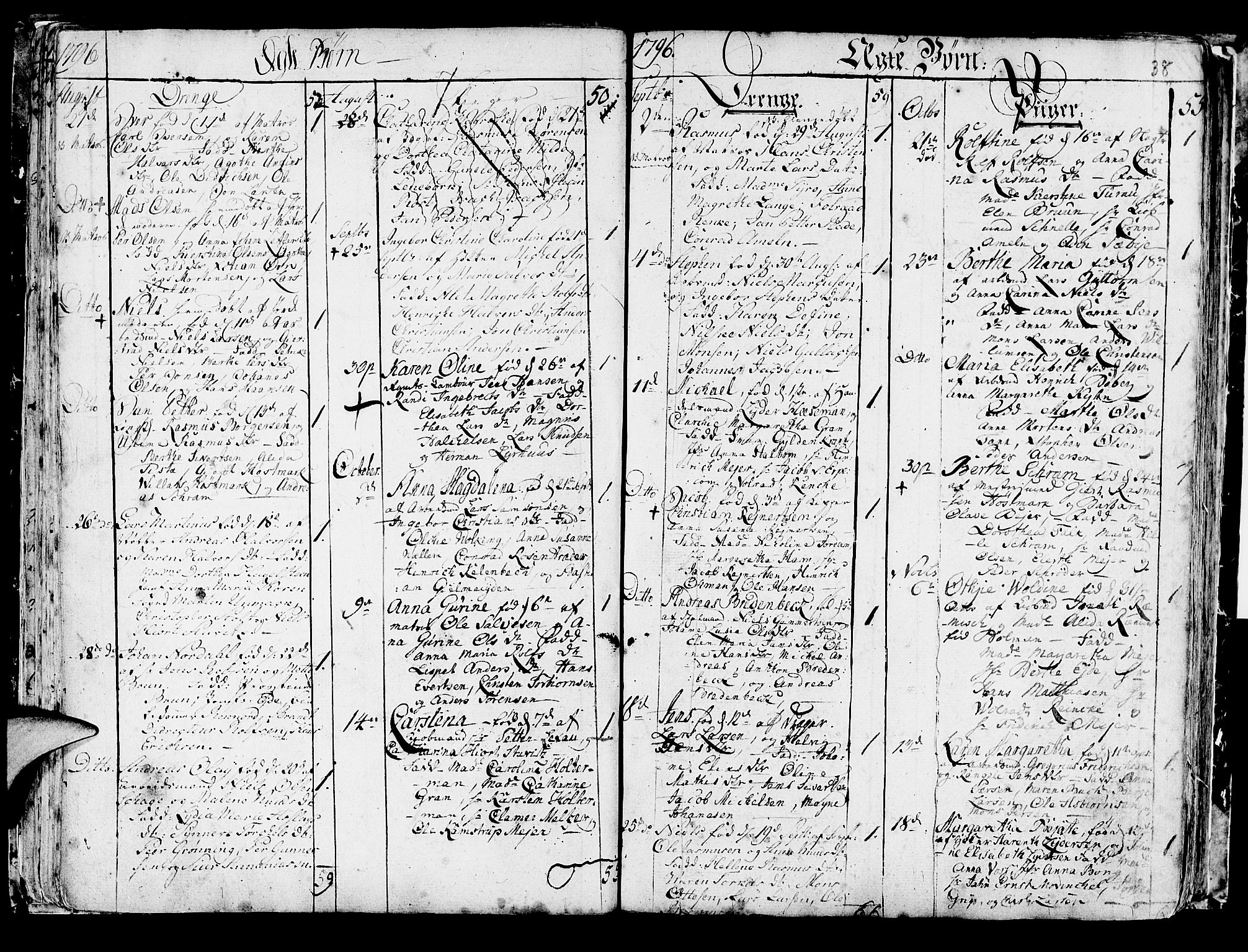 SAB, Korskirken Sokneprestembete, H/Haa/L0006: Parish register (official) no. A 6, 1790-1820, p. 38