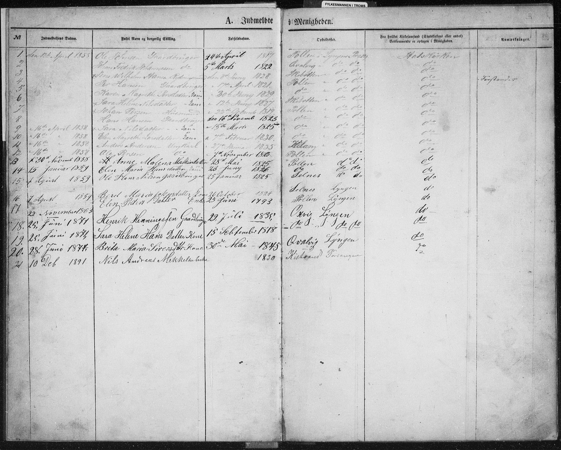 SATØ, Fylkesmannen i Troms, A7.10.2/L1978: Dissenter register no. TF 1978, 1858-1891