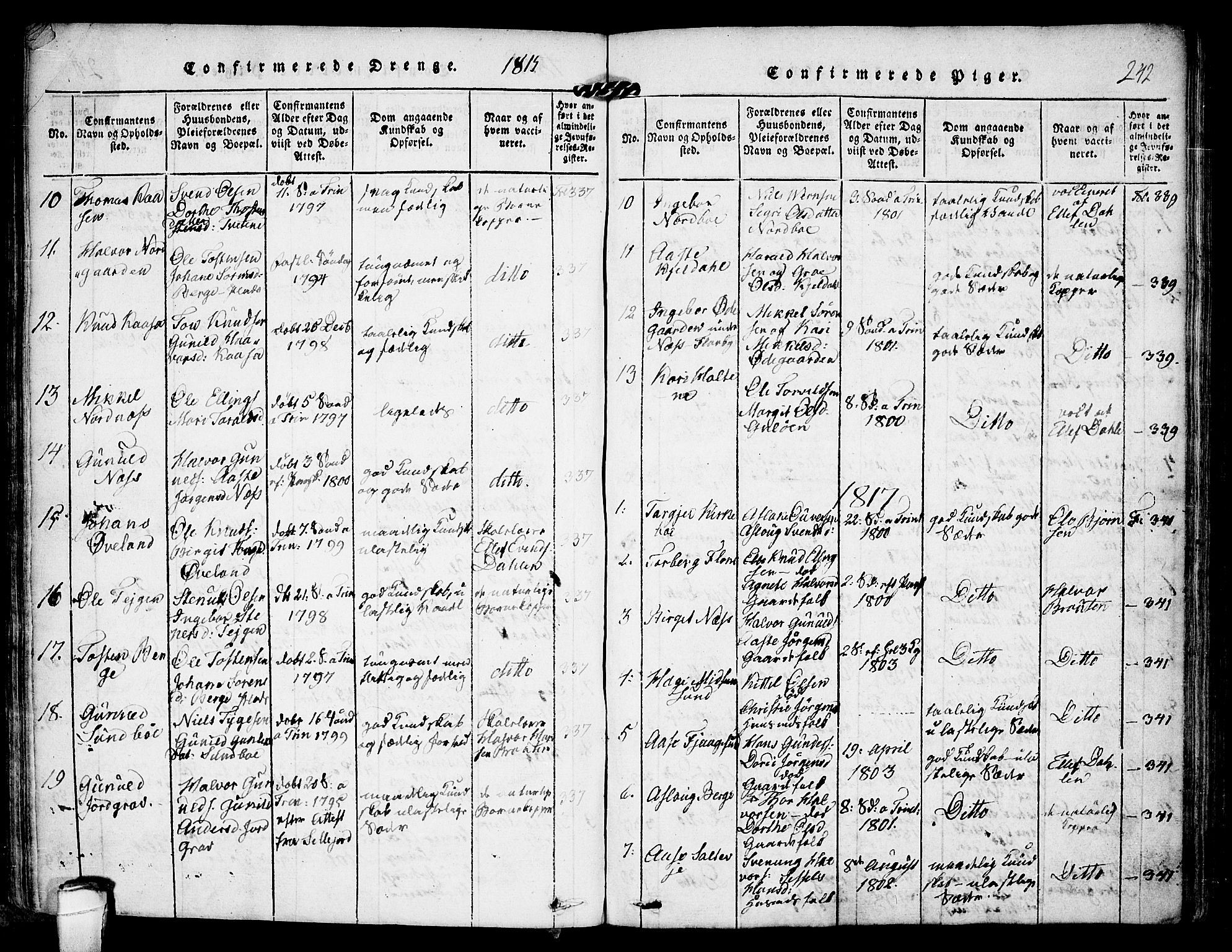 SAKO, Kviteseid kirkebøker, F/Fa/L0005: Parish register (official) no. I 5, 1815-1836, p. 242
