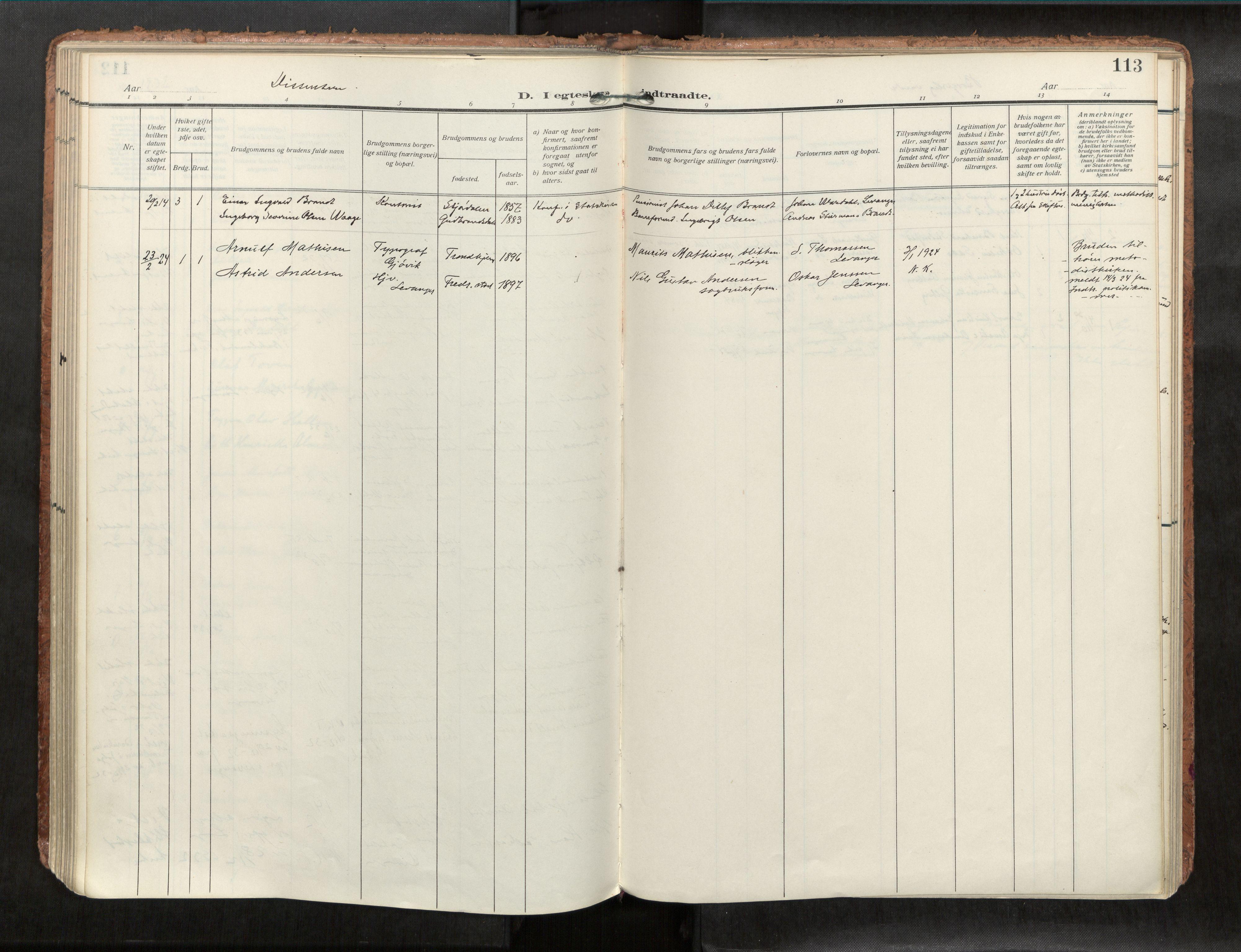 SAT, Levanger sokneprestkontor*, Parish register (official) no. 1, 1912-1932, p. 113