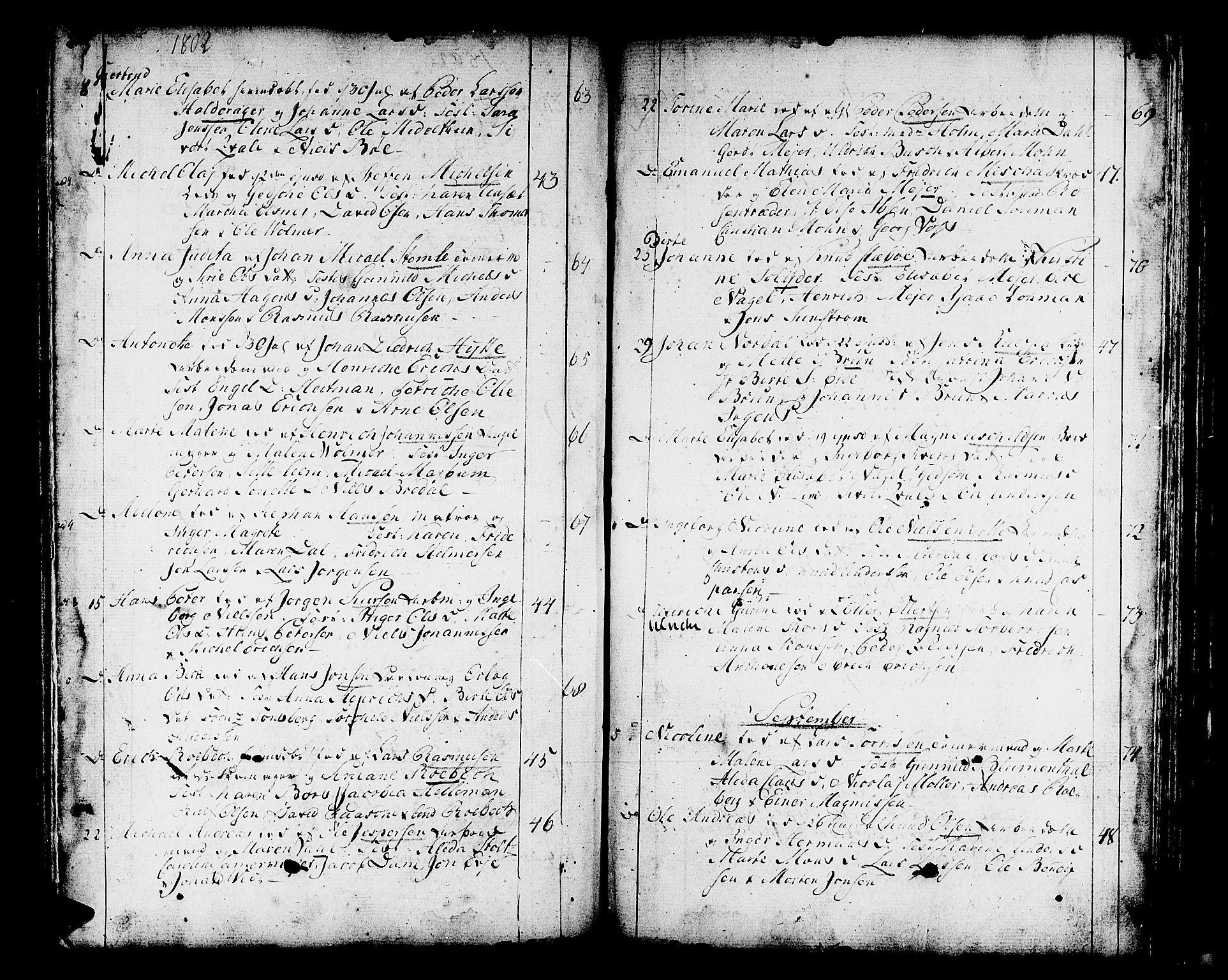 SAB, Domkirken sokneprestembete, H/Haa/L0004: Parish register (official) no. A 4, 1763-1820, p. 280-281