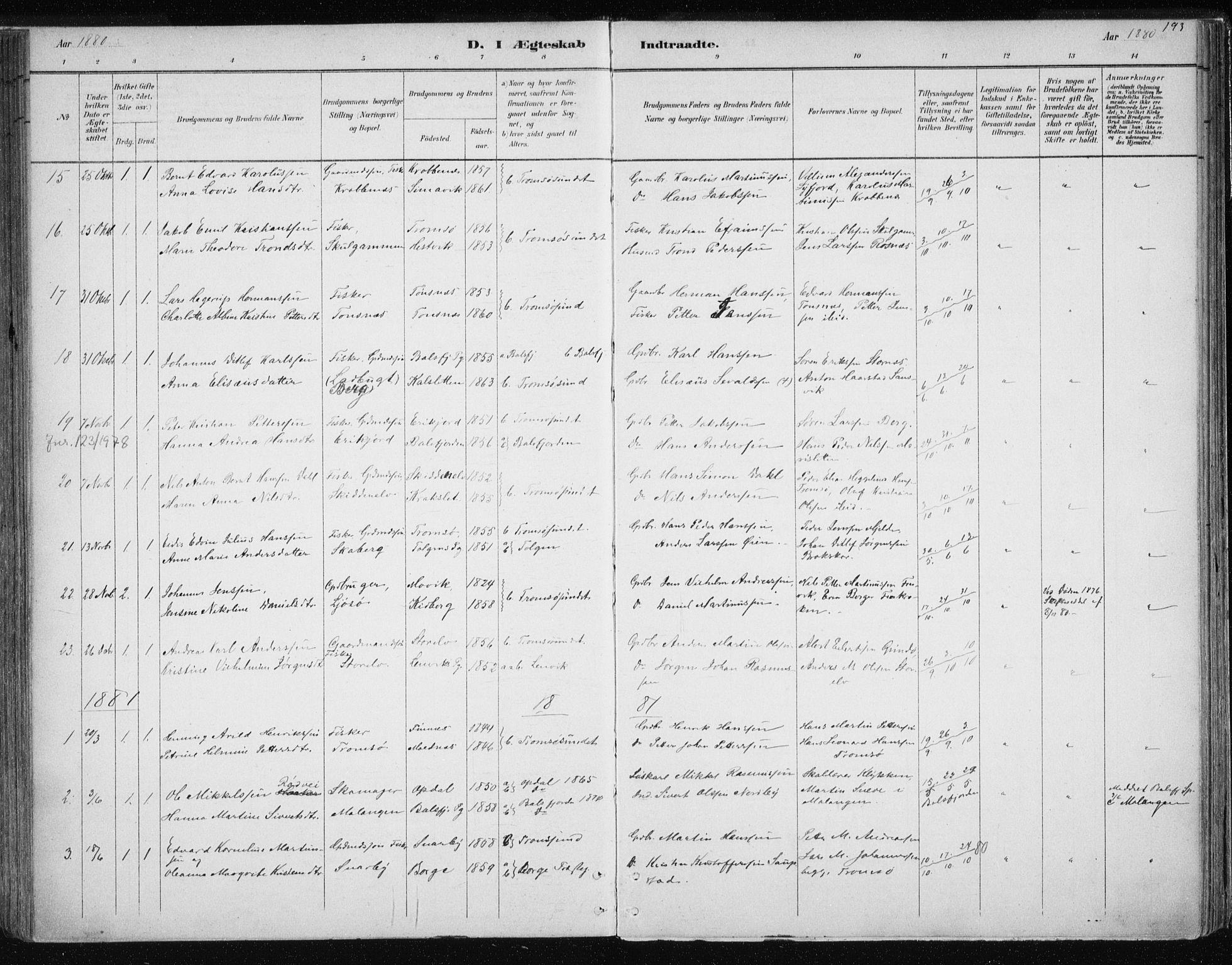 SATØ, Tromsøysund sokneprestkontor, G/Ga/L0004kirke: Parish register (official) no. 4, 1880-1888, p. 193