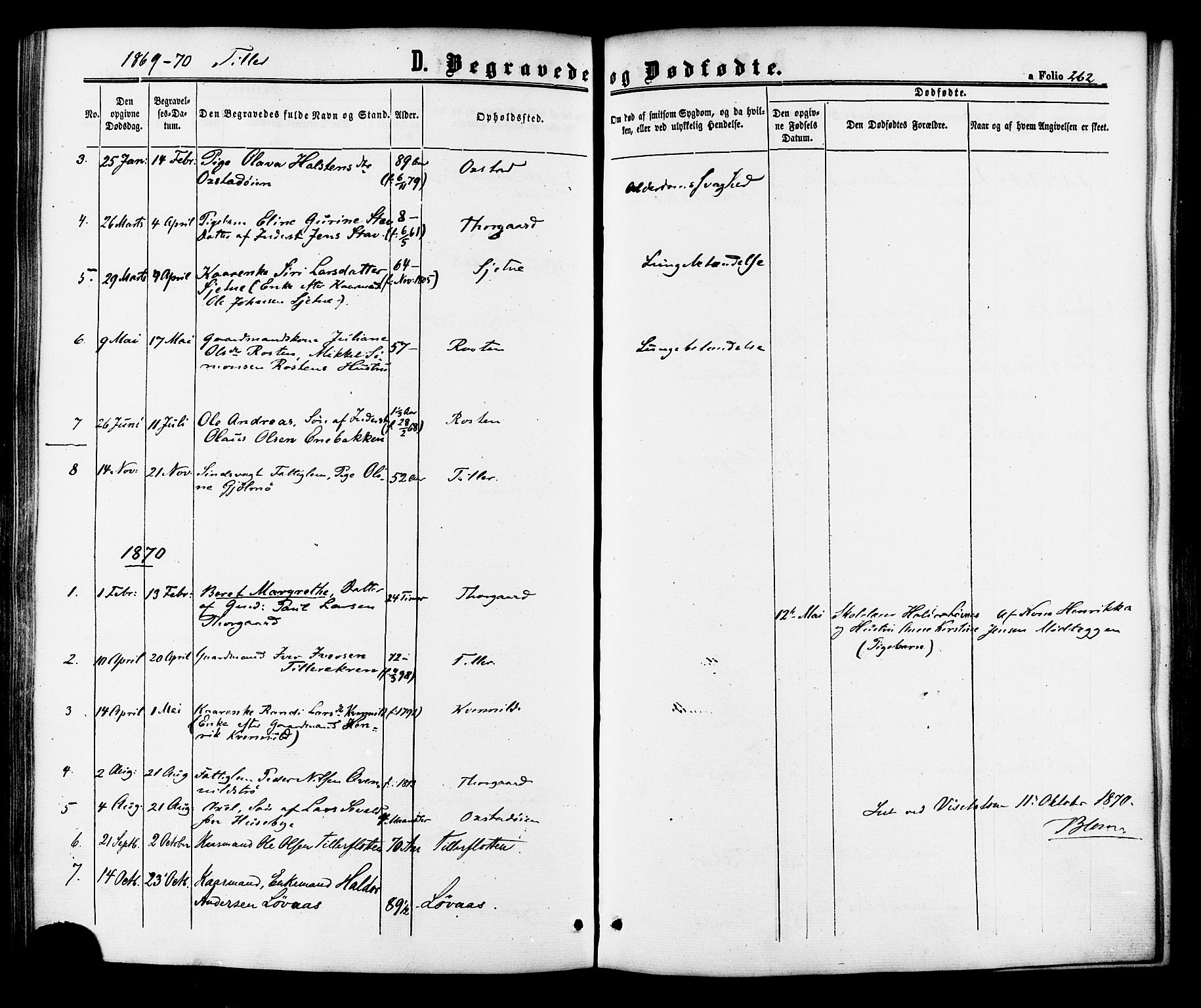 SAT, Ministerialprotokoller, klokkerbøker og fødselsregistre - Sør-Trøndelag, 618/L0443: Parish register (official) no. 618A06 /2, 1863-1879, p. 262