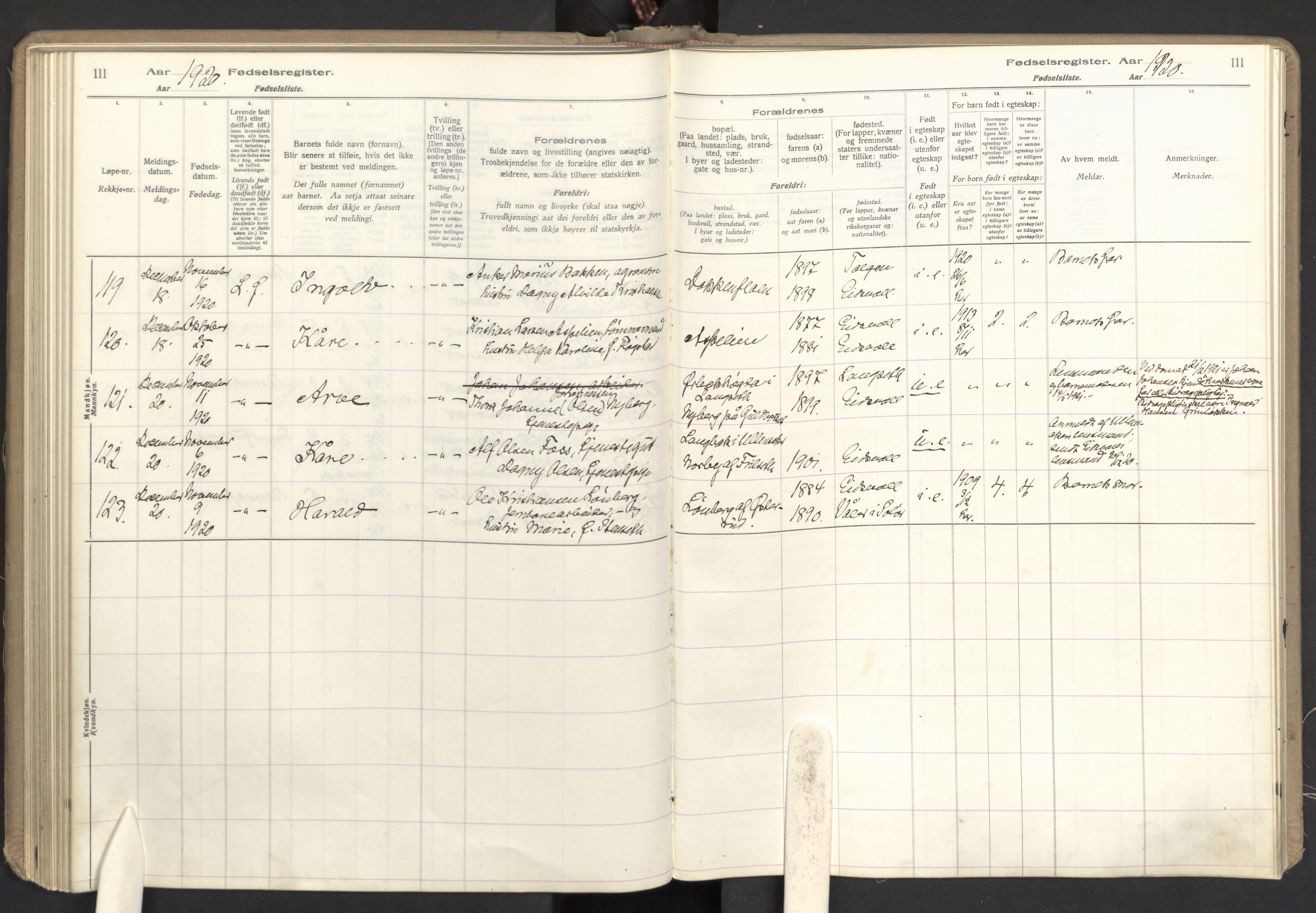 SAO, Eidsvoll prestekontor Kirkebøker, Birth register no. I 1, 1916-1924, p. 111
