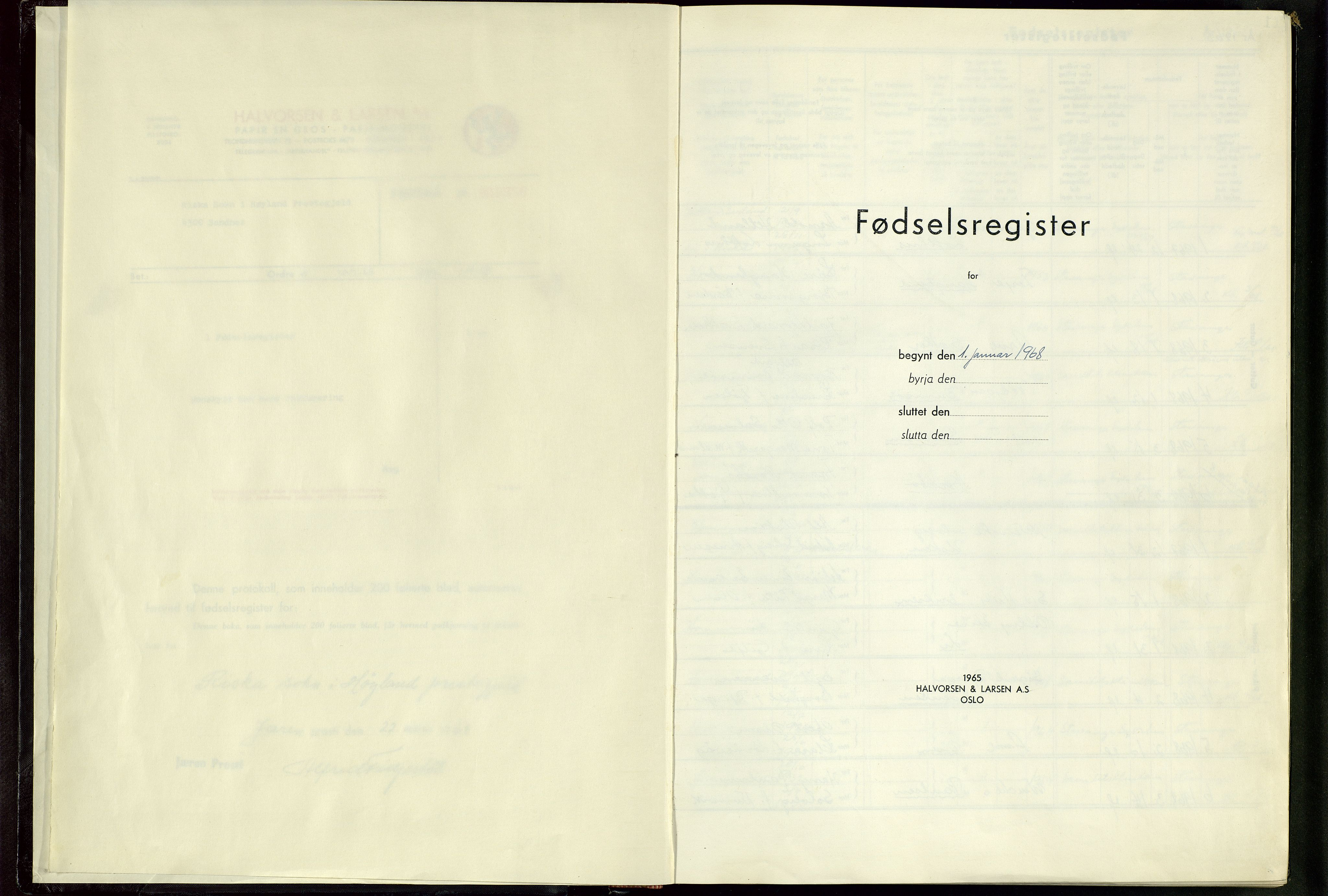 SAST, Høyland sokneprestkontor, 704BA/L0001: Birth register no. 1, 1968-1982