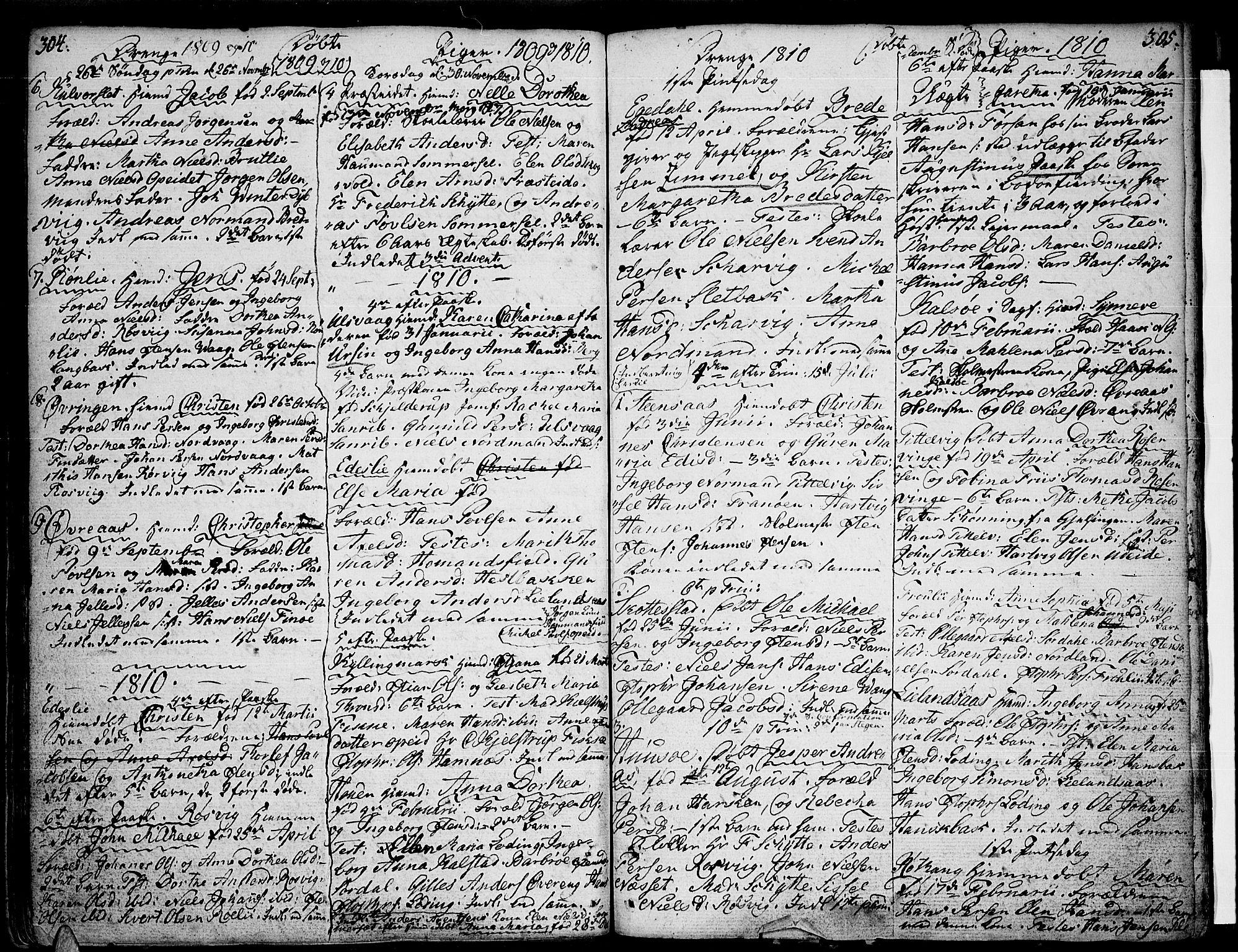 SAT, Ministerialprotokoller, klokkerbøker og fødselsregistre - Nordland, 859/L0841: Parish register (official) no. 859A01, 1766-1821, p. 304-305