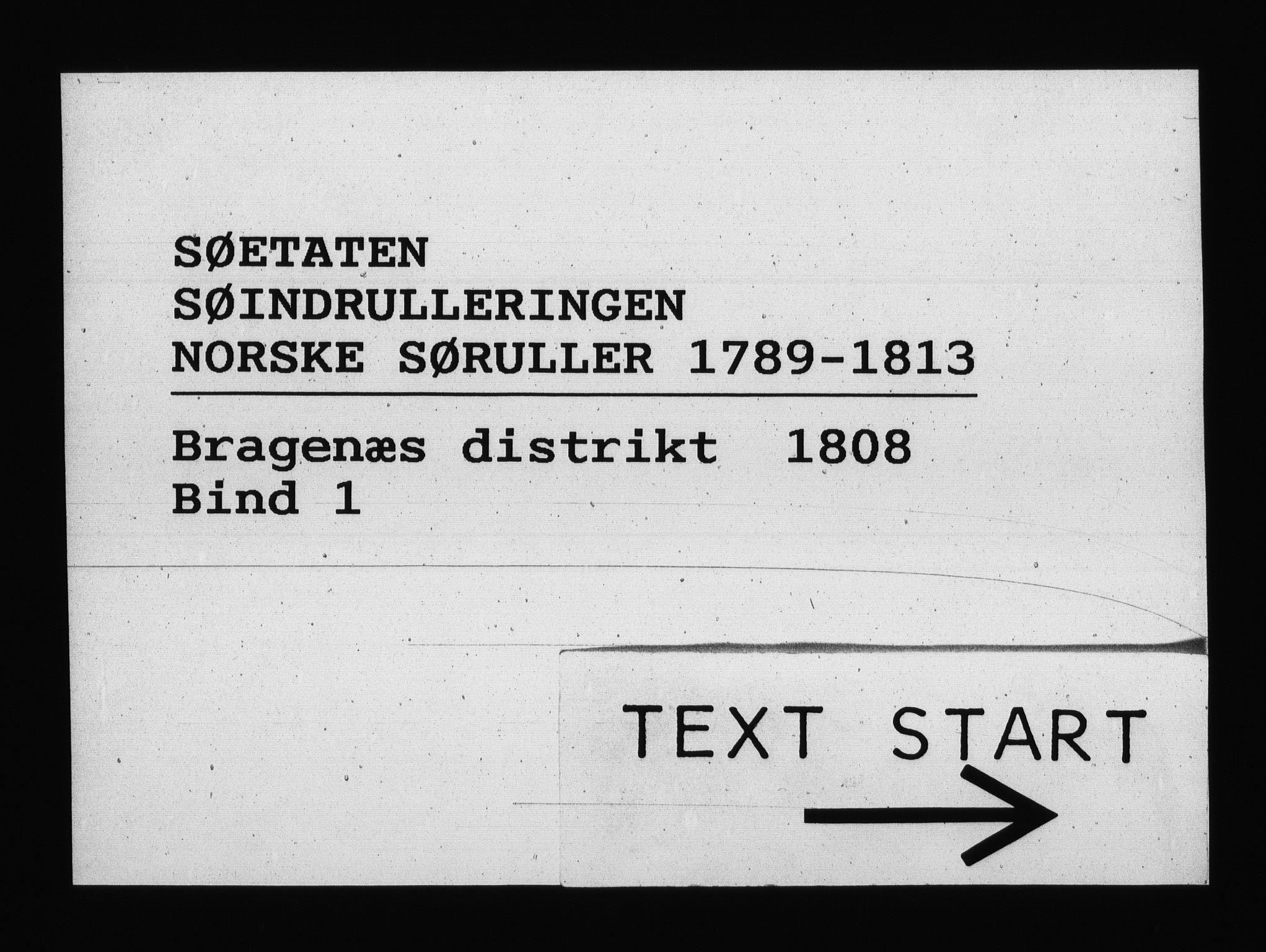 RA, Sjøetaten, F/L0152: Bragernes distrikt, bind 1, 1808