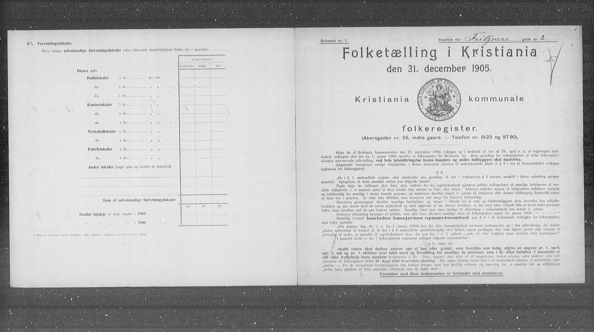 OBA, Municipal Census 1905 for Kristiania, 1905, p. 13964