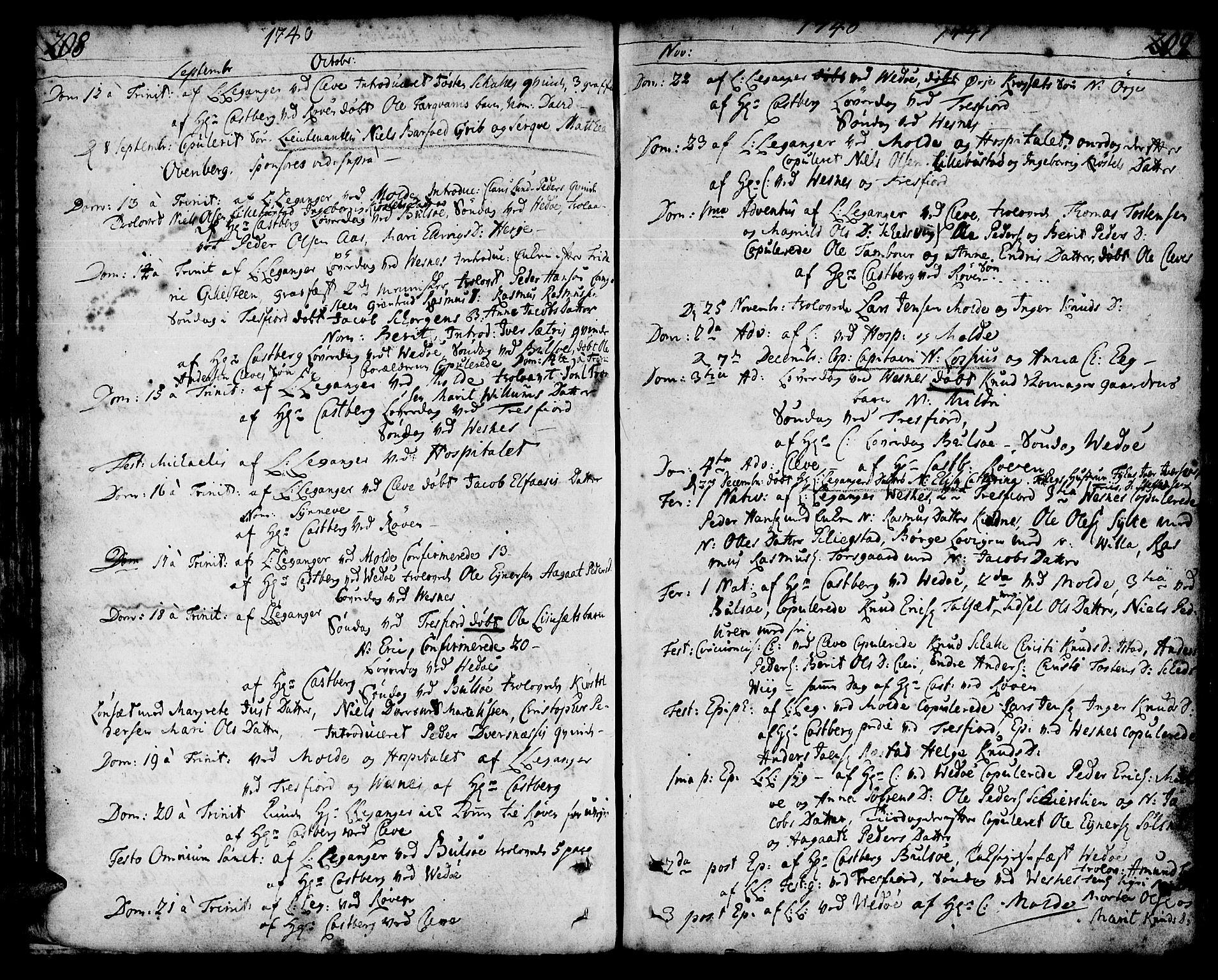 SAT, Ministerialprotokoller, klokkerbøker og fødselsregistre - Møre og Romsdal, 547/L0599: Parish register (official) no. 547A01, 1721-1764, p. 208-209