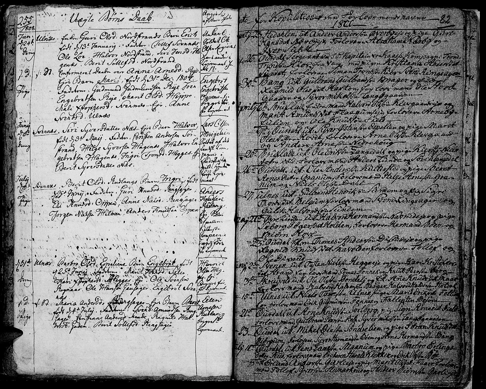 SAH, Aurdal prestekontor, Parish register (official) no. 7, 1800-1808, p. 82